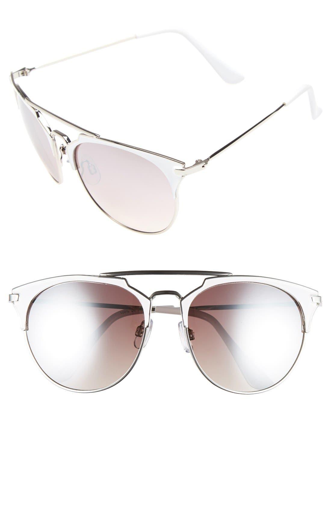 Retro Sunglasses,                         Main,                         color, White/ Silver