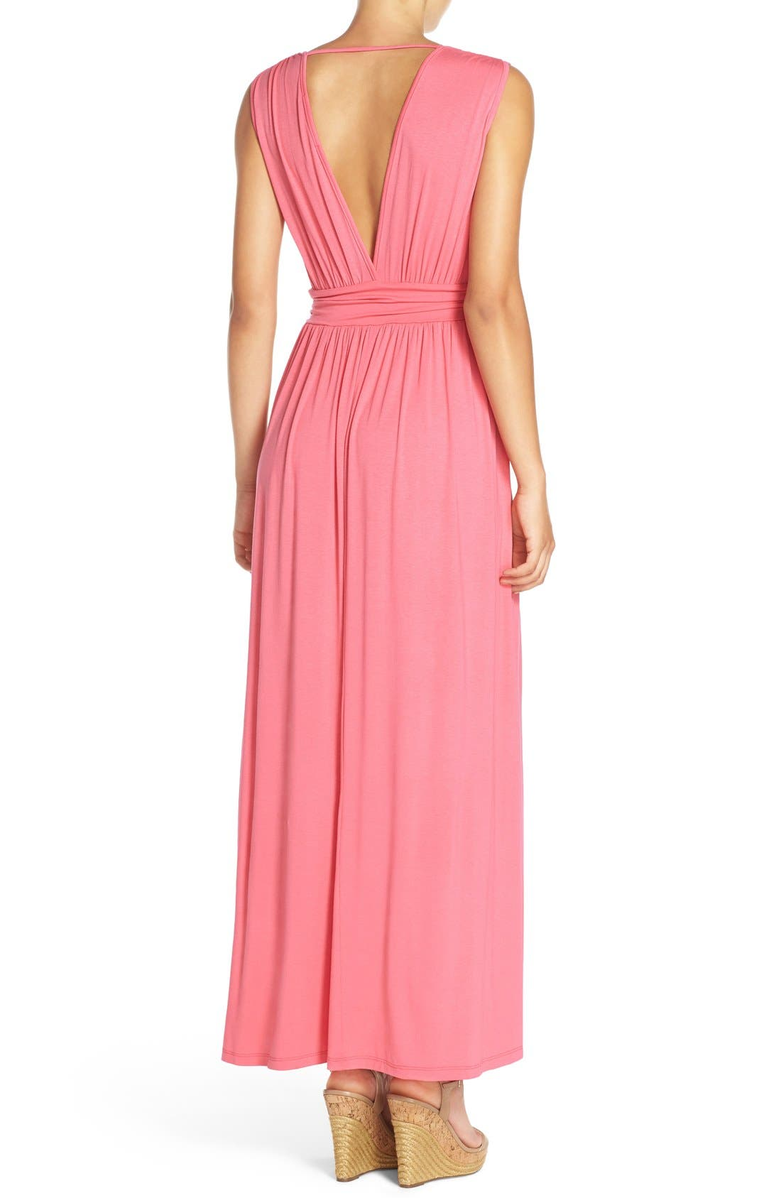 Surplice Jersey Maxi Dress,                             Alternate thumbnail 2, color,                             Coral