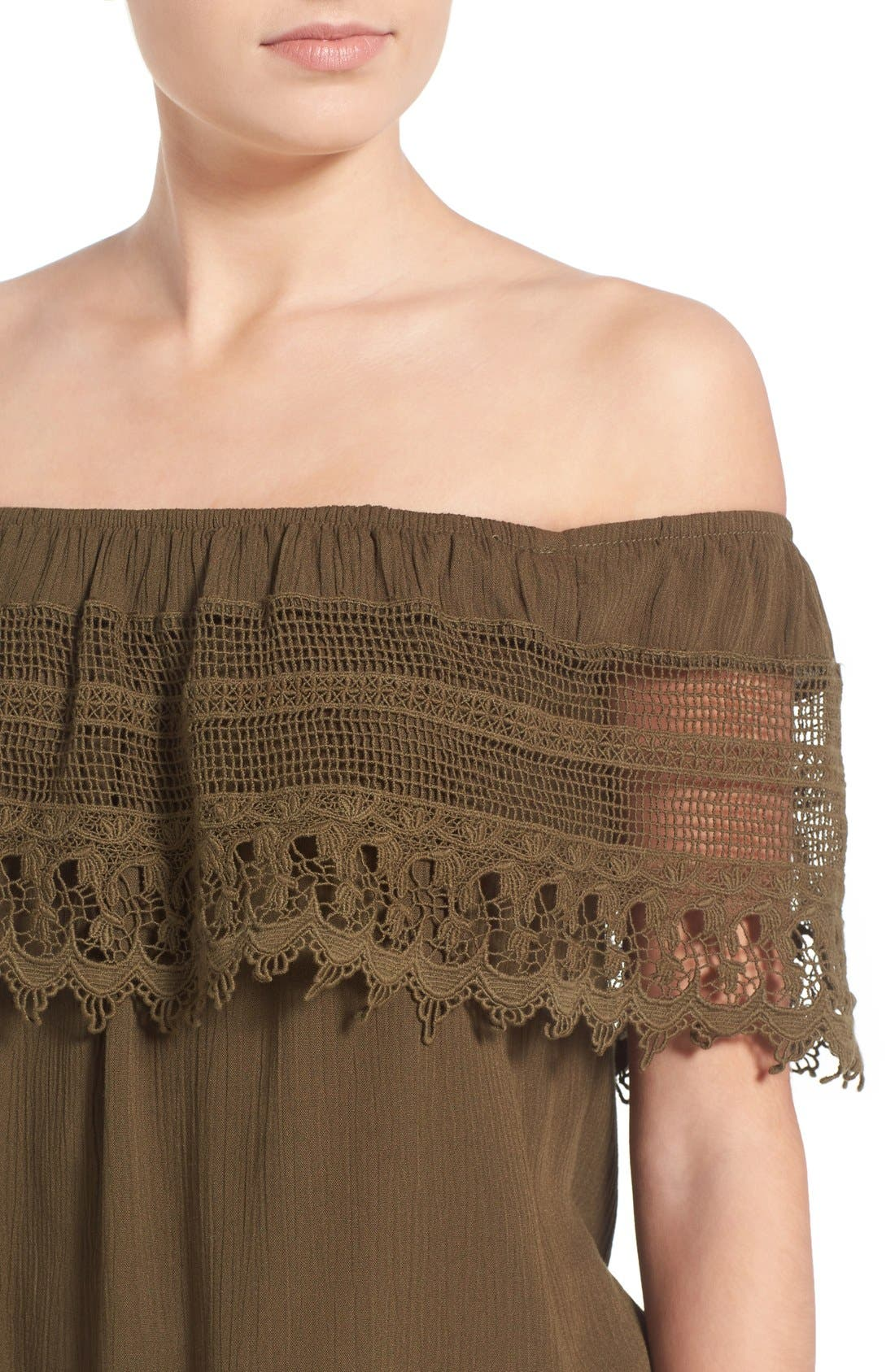 Crochet Off the Shoulder Top,                             Alternate thumbnail 4, color,                             Olive