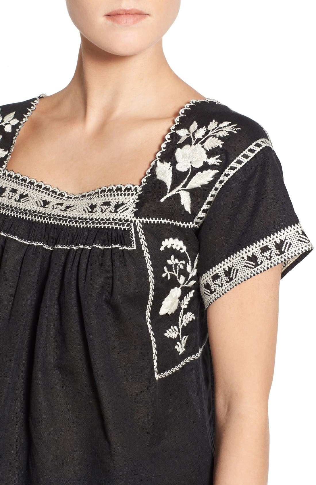Wildfield Embroidered Top,                             Alternate thumbnail 4, color,                             Classic Black