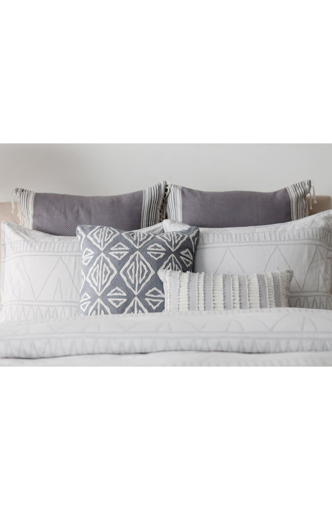 'Moroccan Geo' Crewel Embroidered Pillow,                             Alternate thumbnail 3, color,                             Grey
