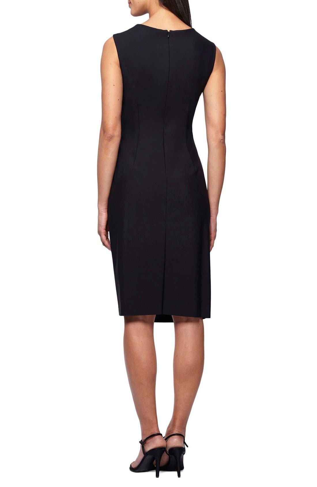 Embellished Neck Ruched Sheath Dress,                             Alternate thumbnail 2, color,                             Black