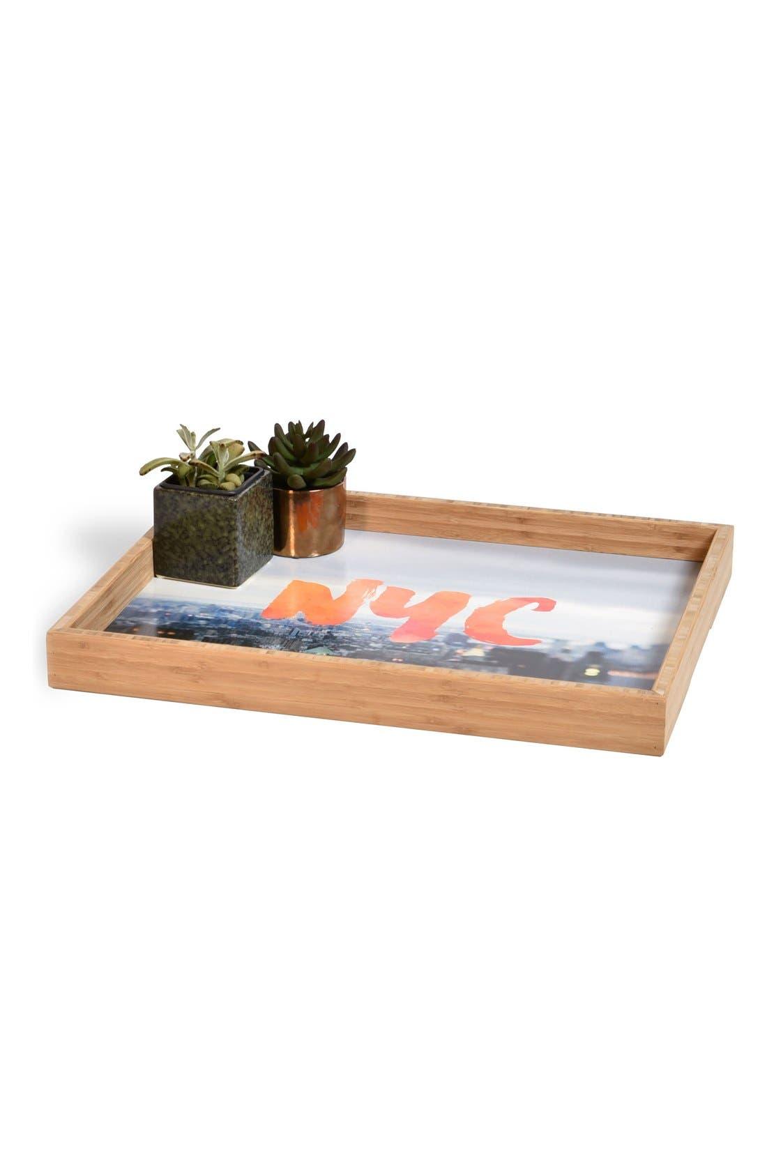 'NYC Skyline' Decorative Serving Tray,                             Alternate thumbnail 3, color,                             Orange