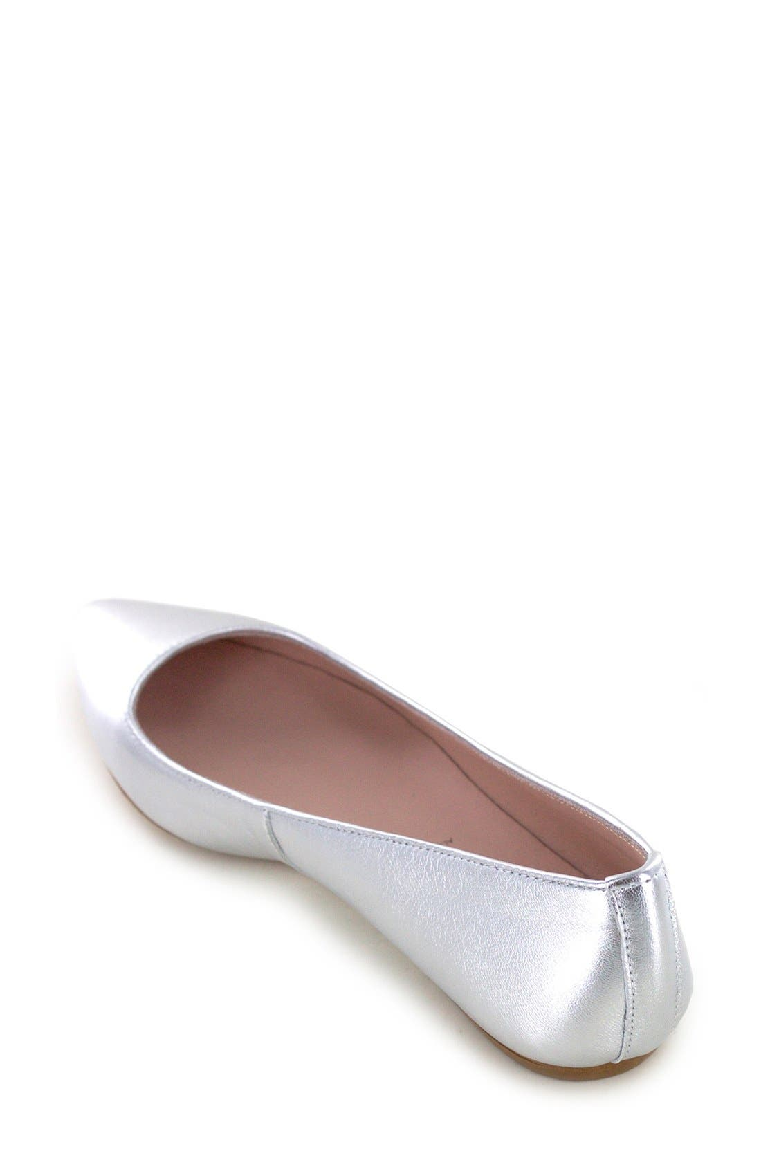 'Kamora' Pointy Toe Flat,                             Alternate thumbnail 2, color,                             Silver Metallic Leather