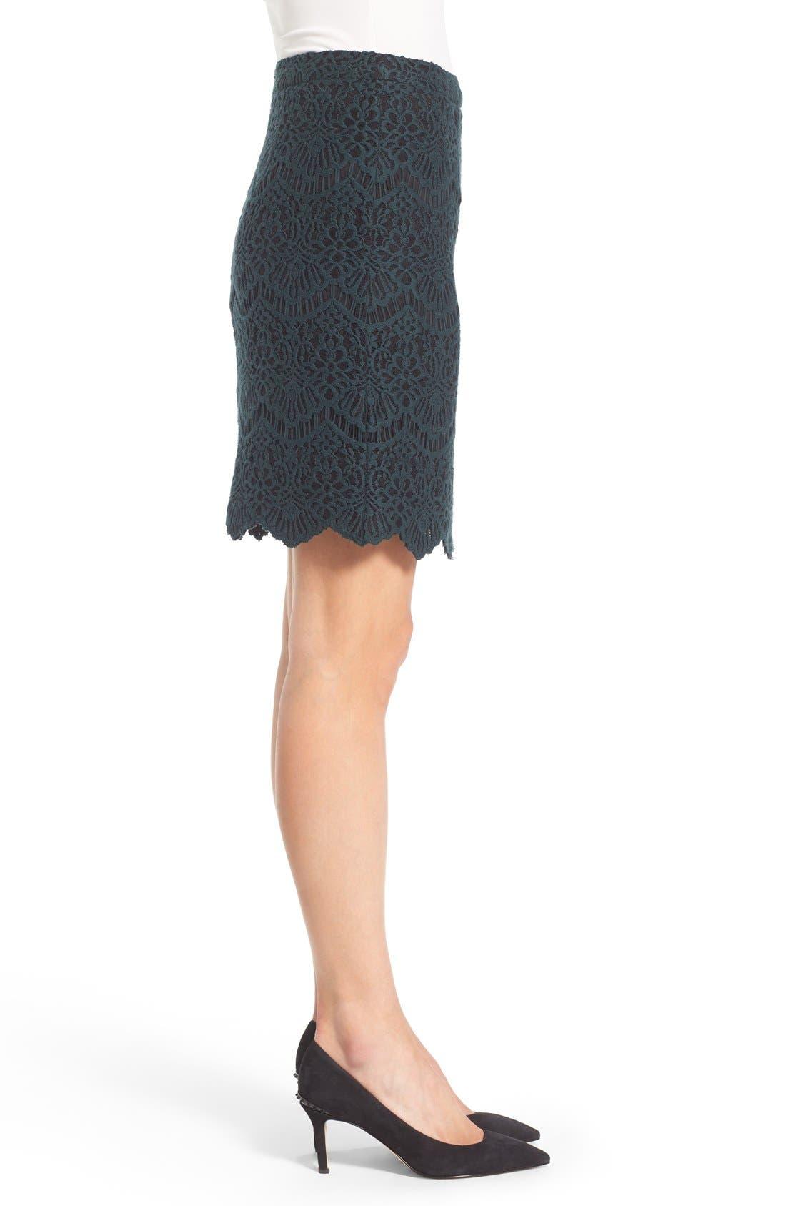 Alternate Image 3  - Halogen® Scallop Edge Lace Skirt (Regular & Petite)