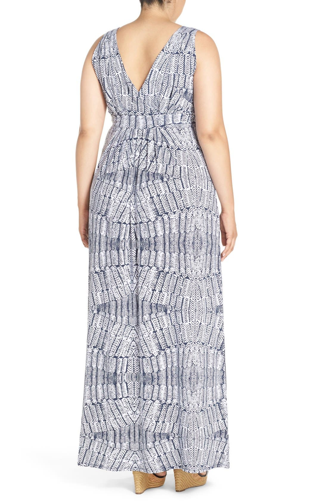 Chloe Empire Waist Maxi Dress,                             Alternate thumbnail 2, color,                             Stamped Feathers