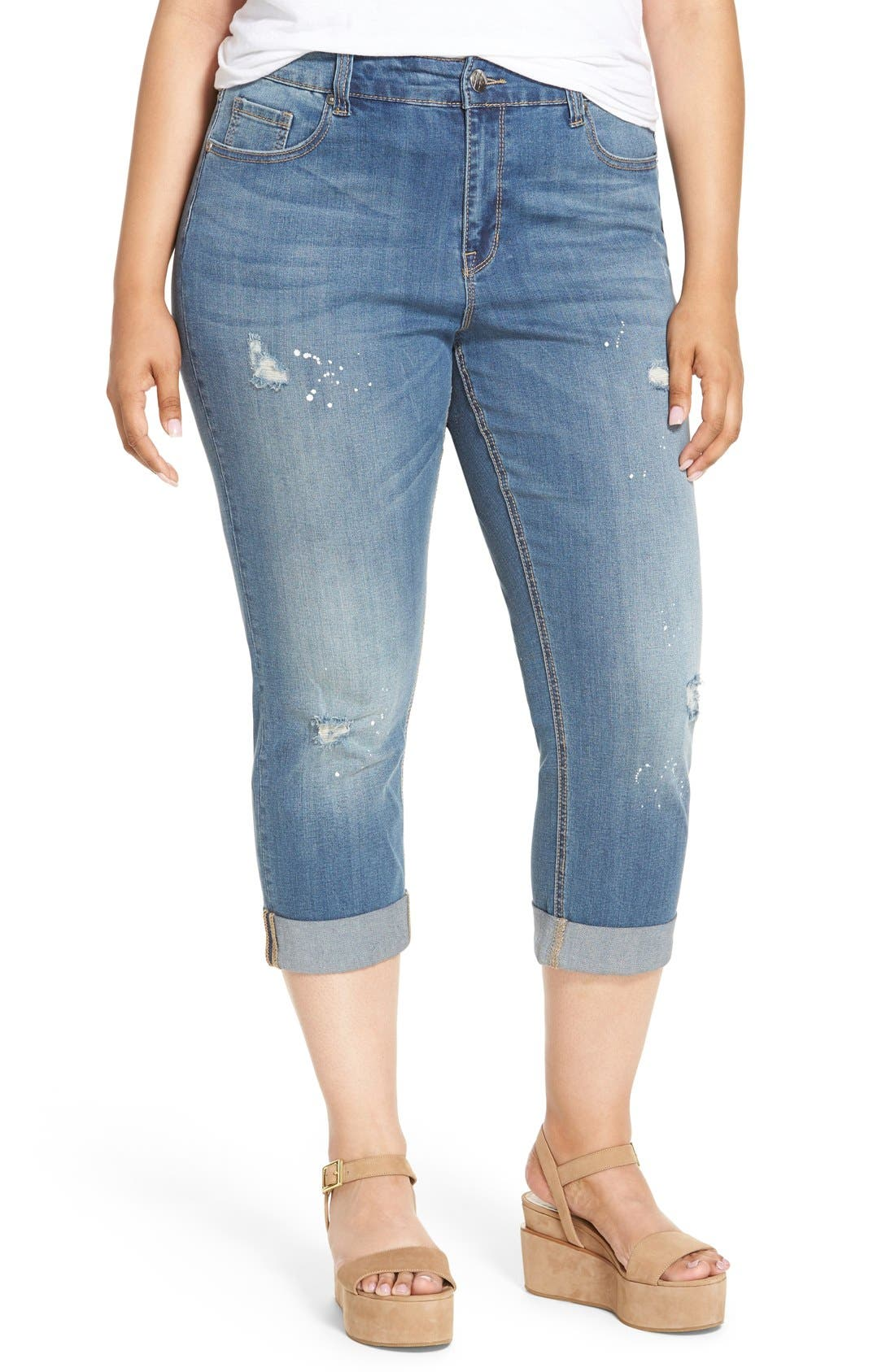 Alternate Image 1 Selected - Melissa McCarthy Seven7 Stretch Crop Girlfriend Jeans (Plus Size)