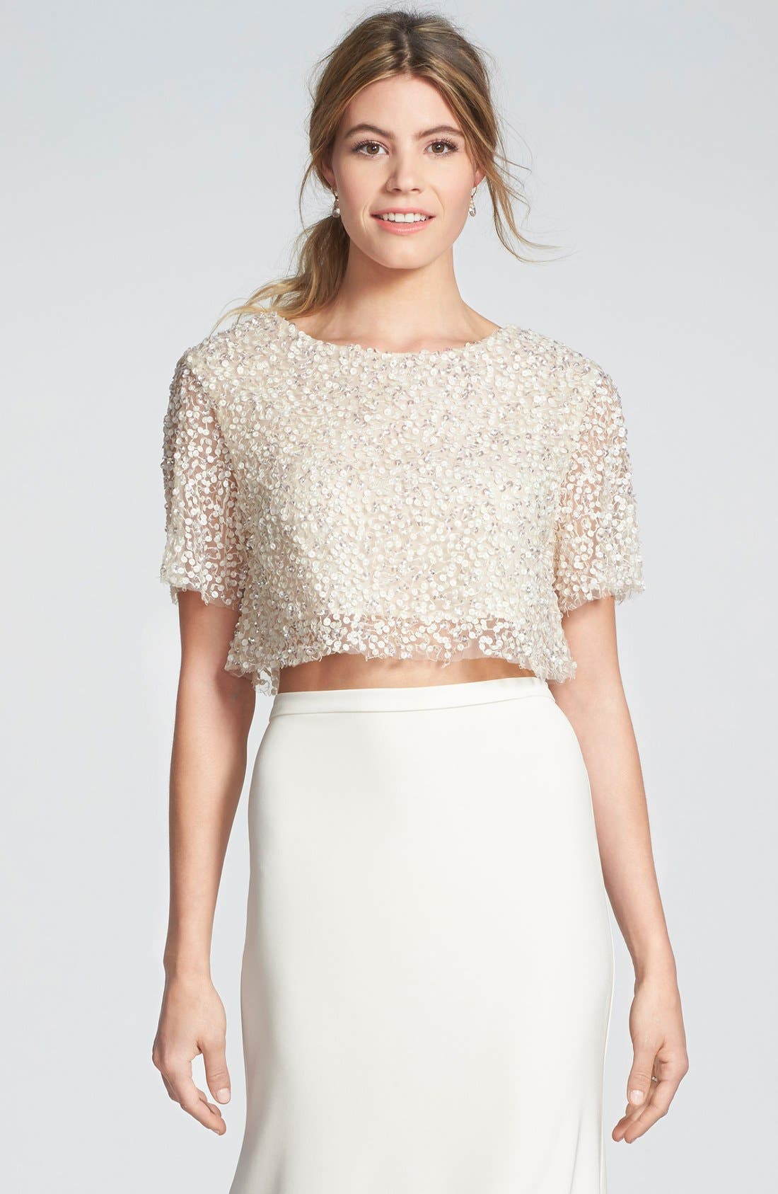 SARAH SEVEN Delancy Sequin Crop Top
