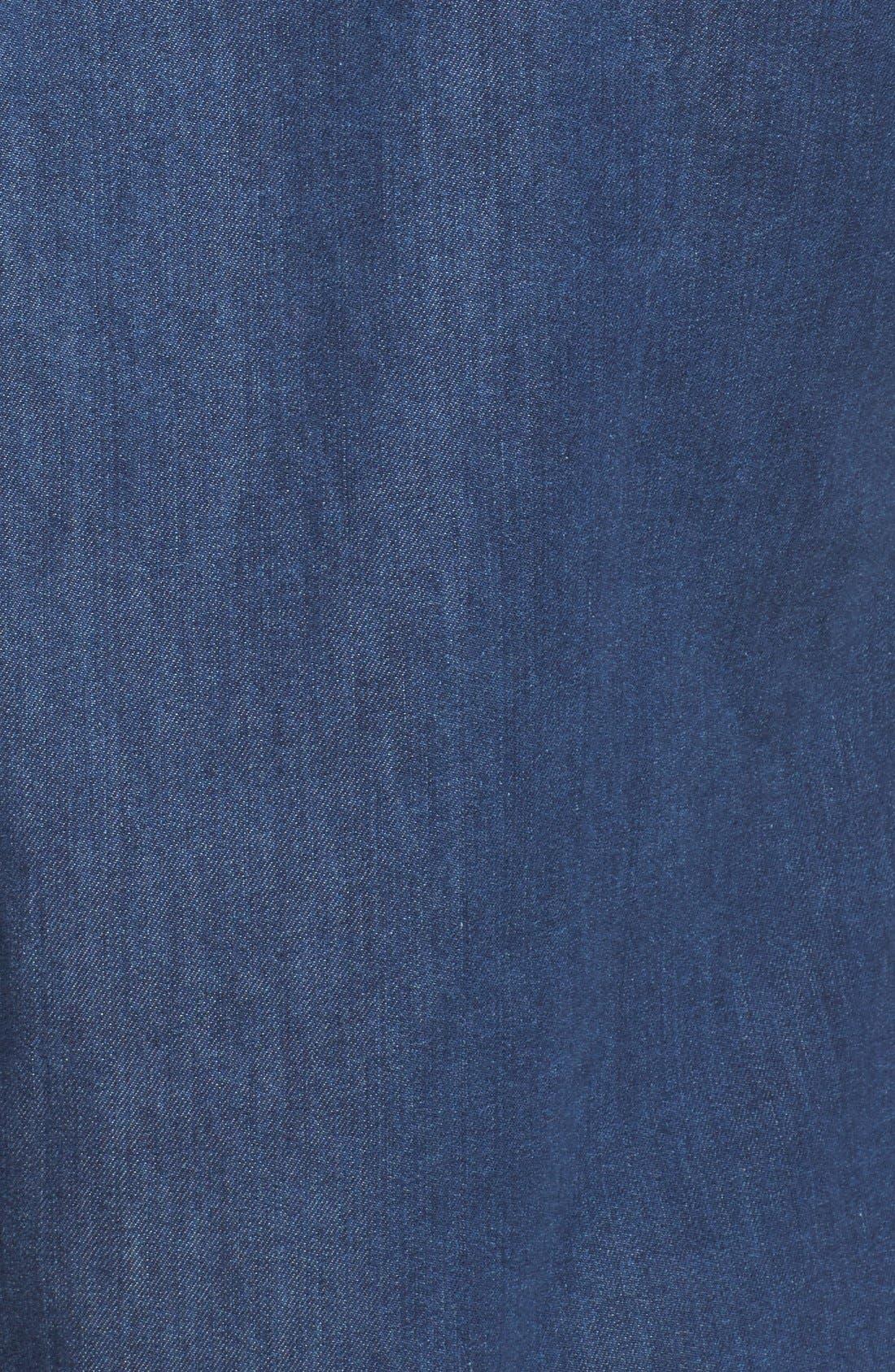 Trim Fit Washed Denim Western Shirt,                             Alternate thumbnail 5, color,                             Blue