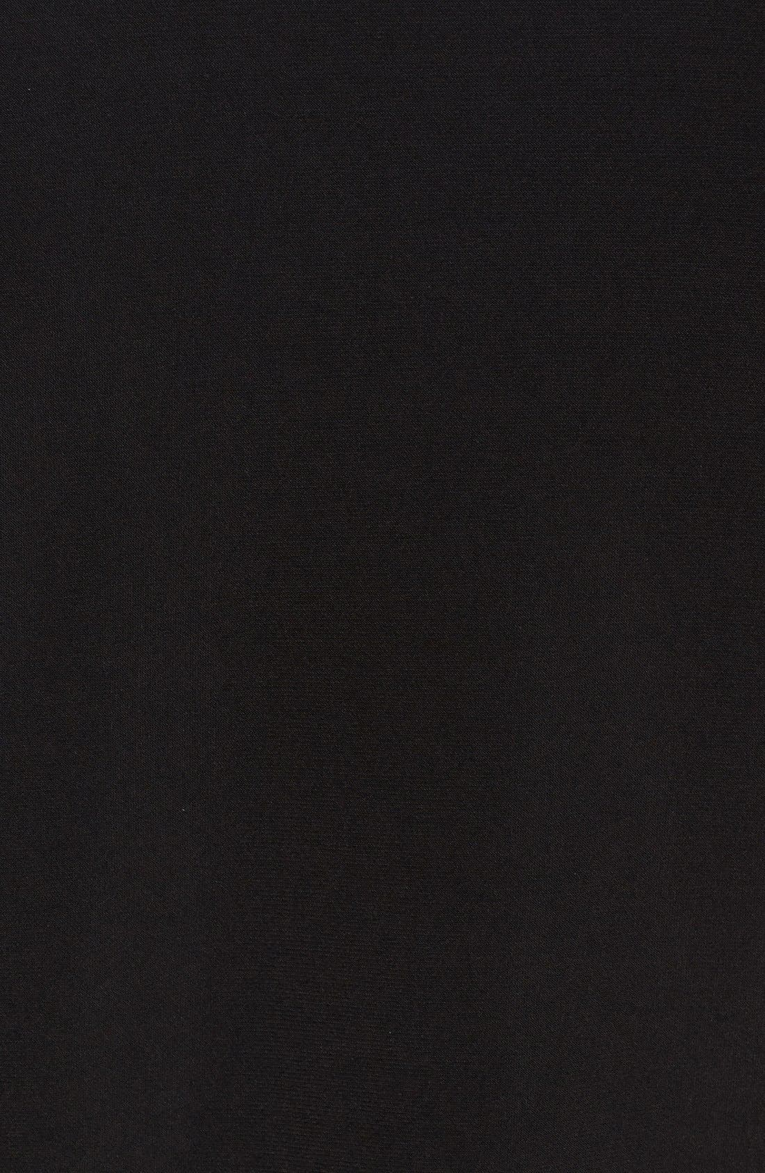 Triple Pleat V-Neck Jersey Top,                             Alternate thumbnail 5, color,                             Black