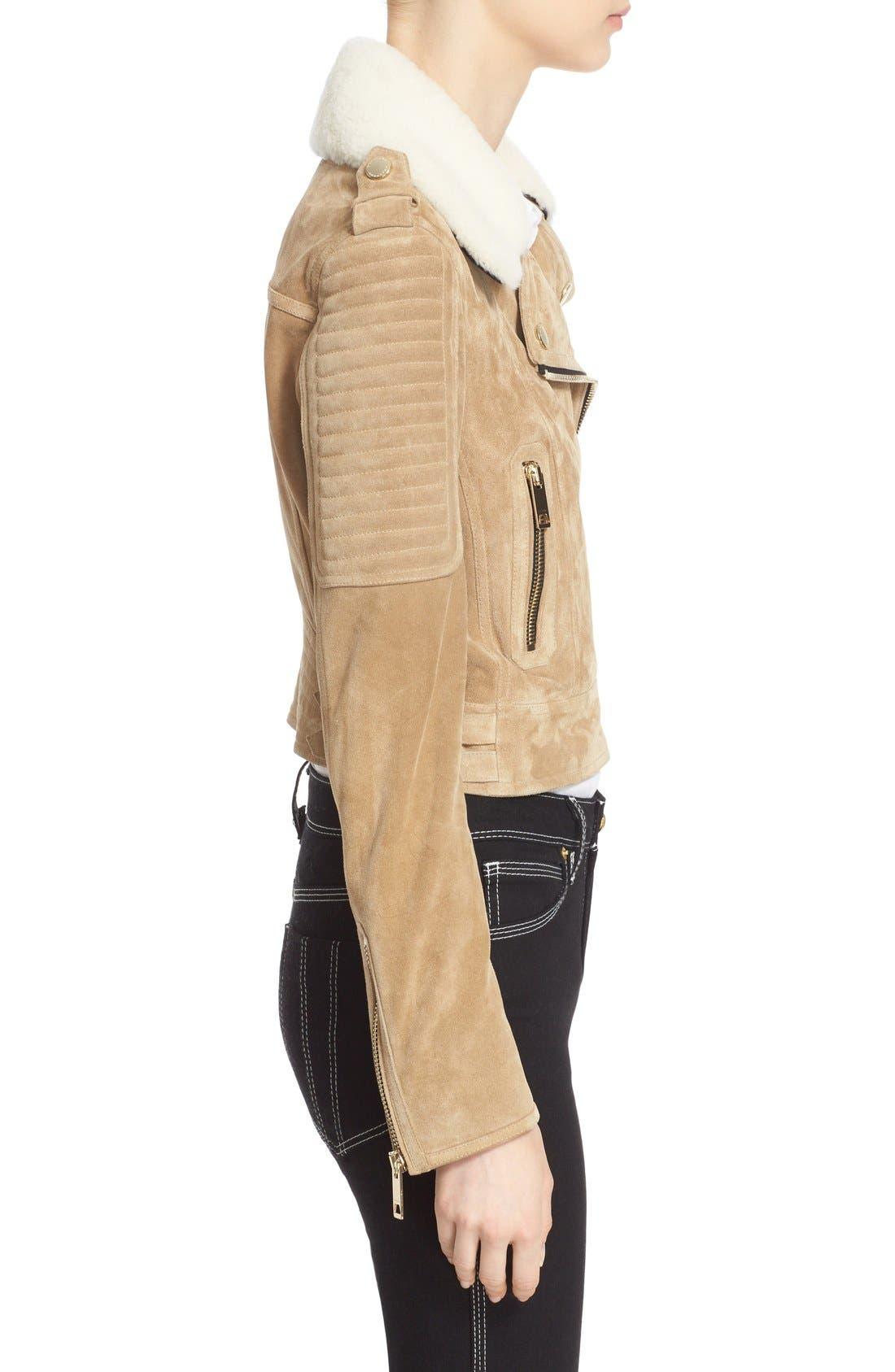 Alternate Image 5  - Burberry 'Peakhurst' Suede Biker Jacket with Removable Genuine Shearling Collar