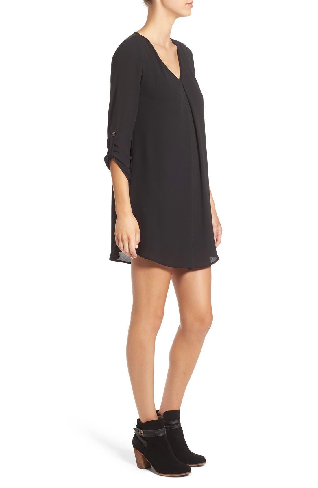 Karly Shift Dress,                             Alternate thumbnail 3, color,                             Black