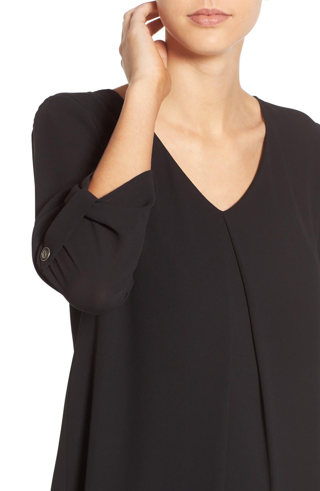 Karly Shift Dress,                             Alternate thumbnail 4, color,                             Black