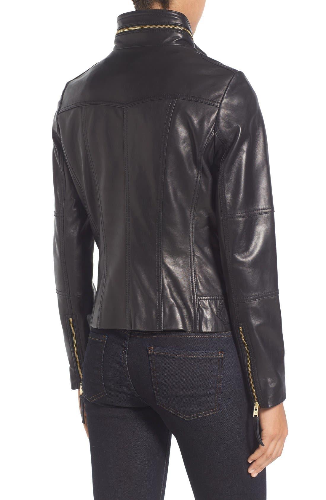 Front Zip Leather Jacket,                             Alternate thumbnail 2, color,                             Black