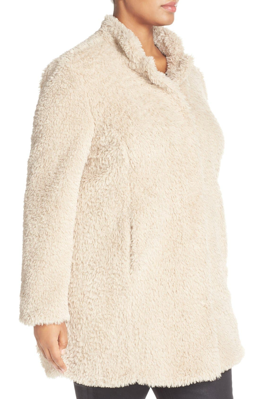 Alternate Image 3  - Kenneth Cole New York 'Original Teddy' Faux Fur Coat (Plus Size)