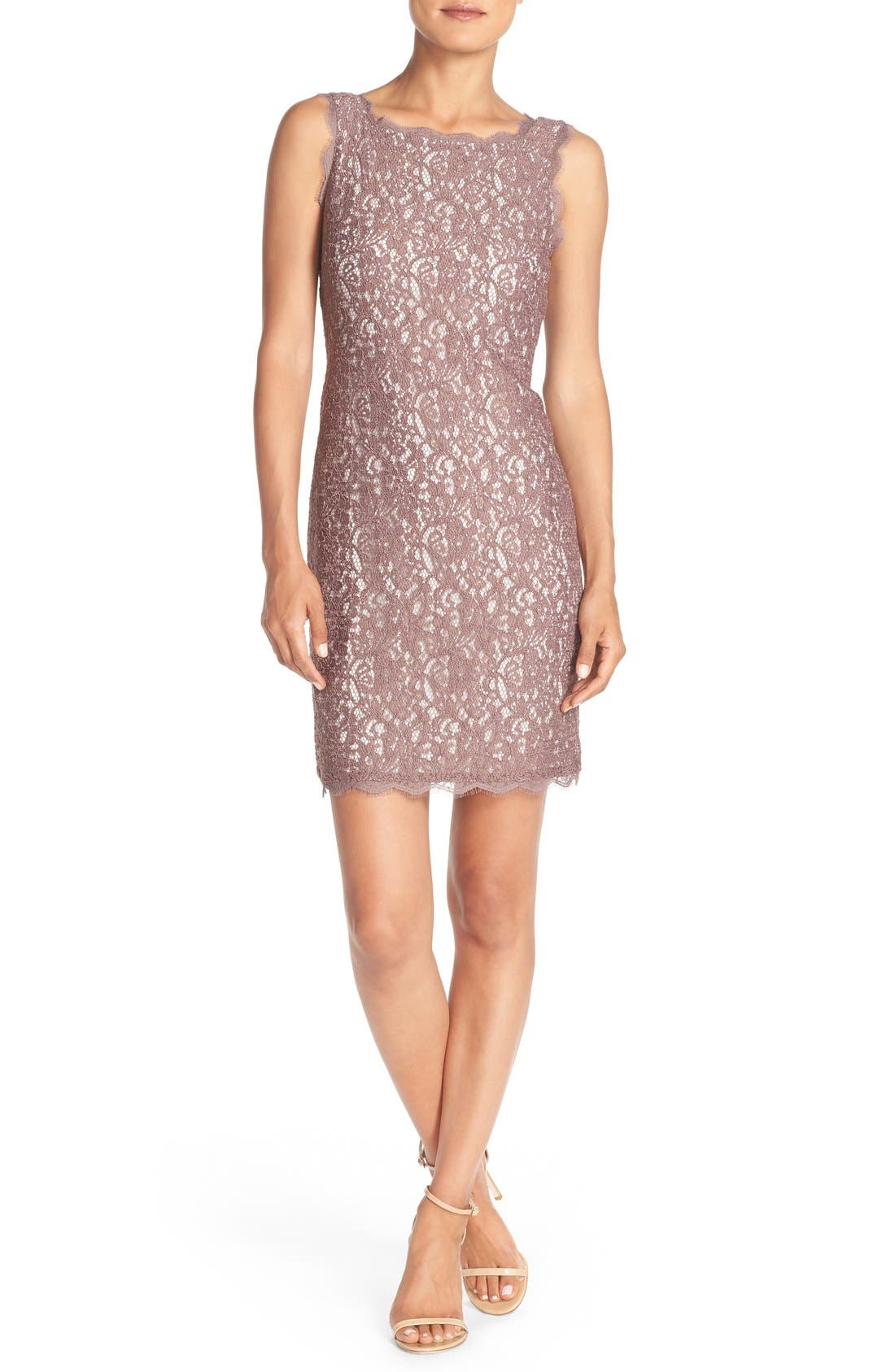 Boatneck Lace Sheath Dress,                             Alternate thumbnail 7, color,                             Cappuccino/ Ivory
