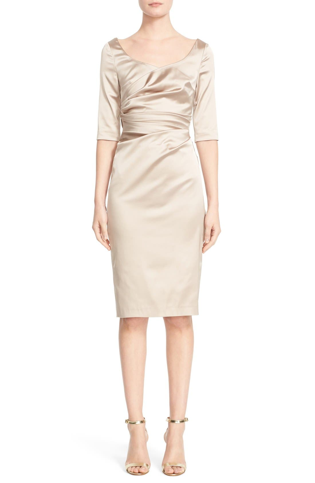 Portrait Neck Stretch Satin Sheath Dess,                         Main,                         color, Beige
