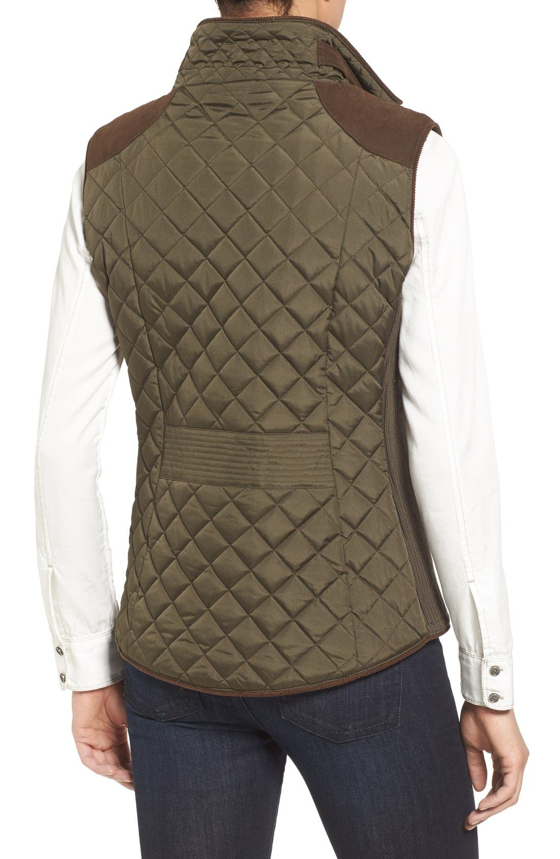 Alternate Image 2  - Gallery Quilted Vest with Faux Suede Trim (Regular & Petite)