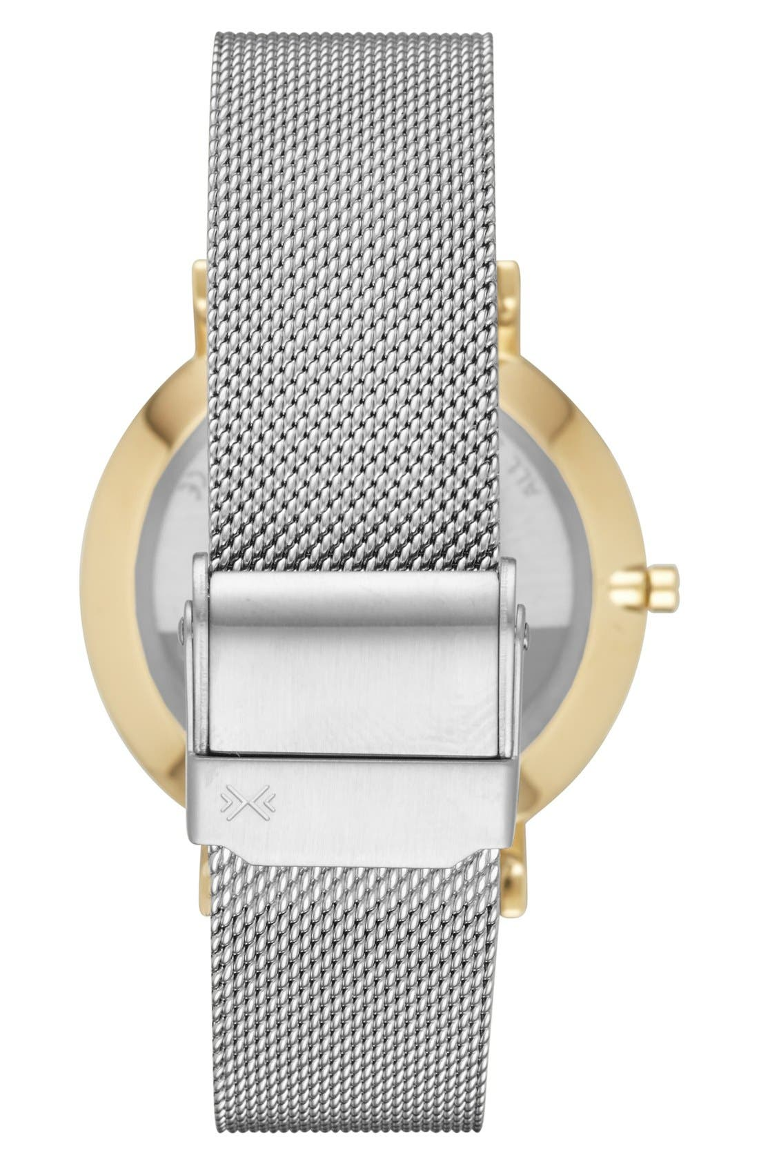 'Hald' Round Mesh Strap Watch, 34mm,                             Alternate thumbnail 2, color,                             Silver/ White/ Gold