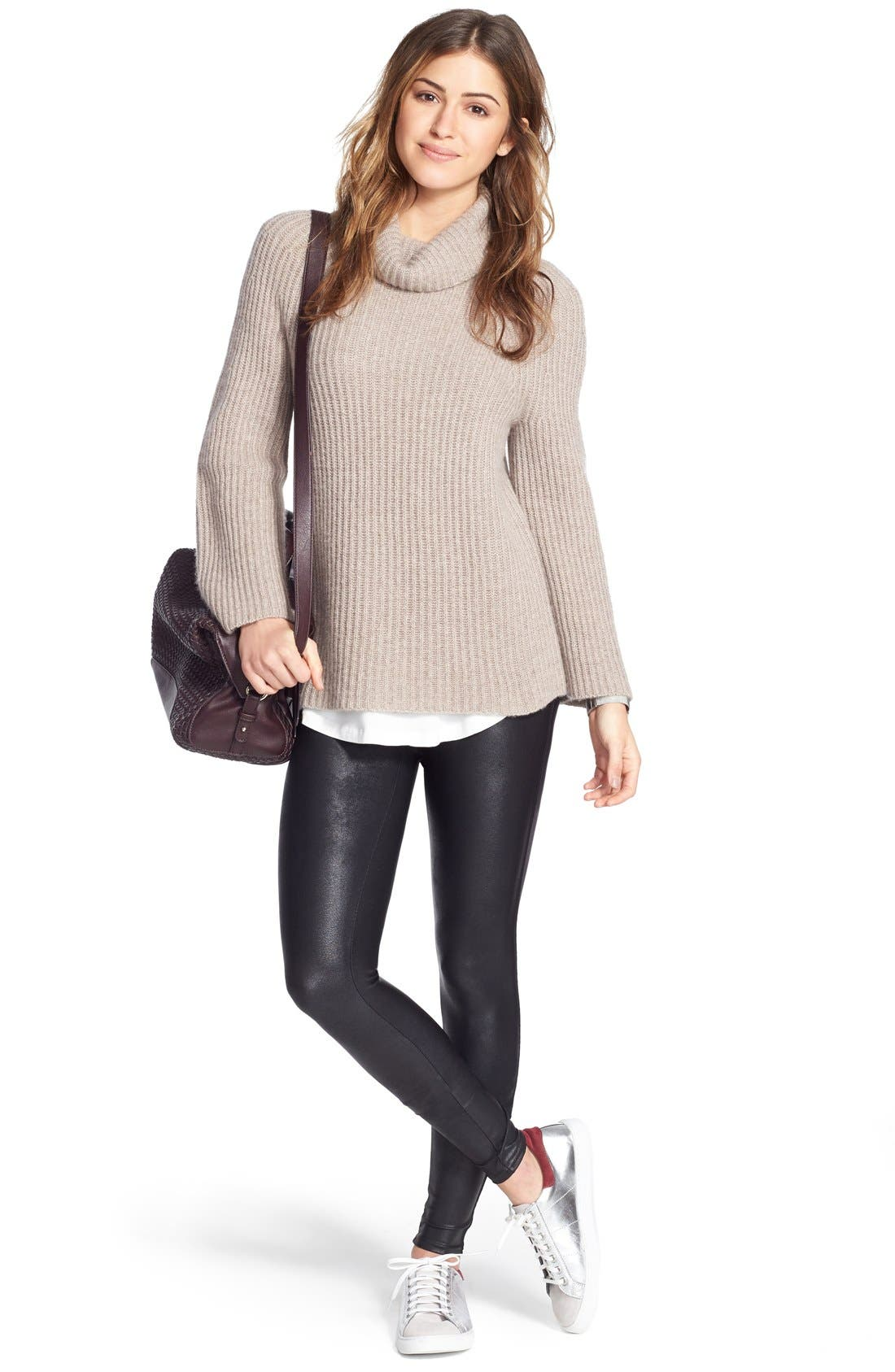 Alternate Image 2  - Halogen® Ribbed Cashmere Turtleneck Sweater (Regular & Petite)