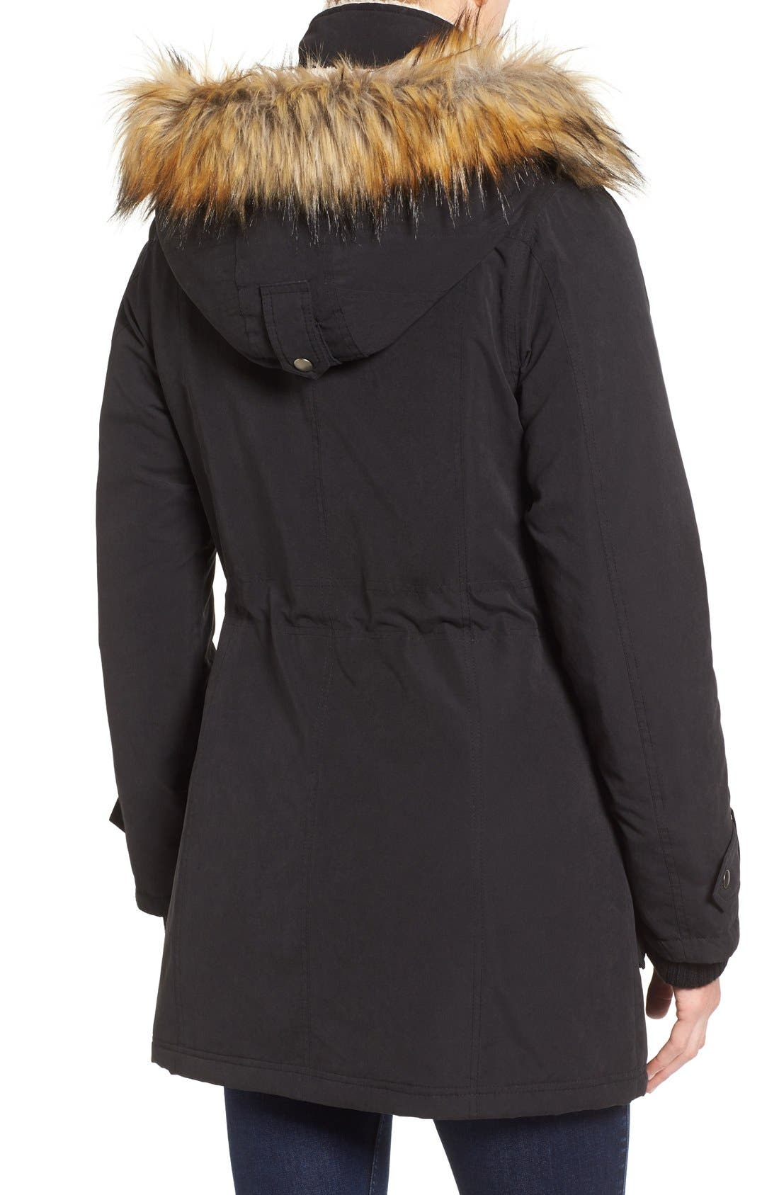 Alternate Image 2  - Halogen® Hooded Anorak with Faux Fur Trim (Regular & Petite)