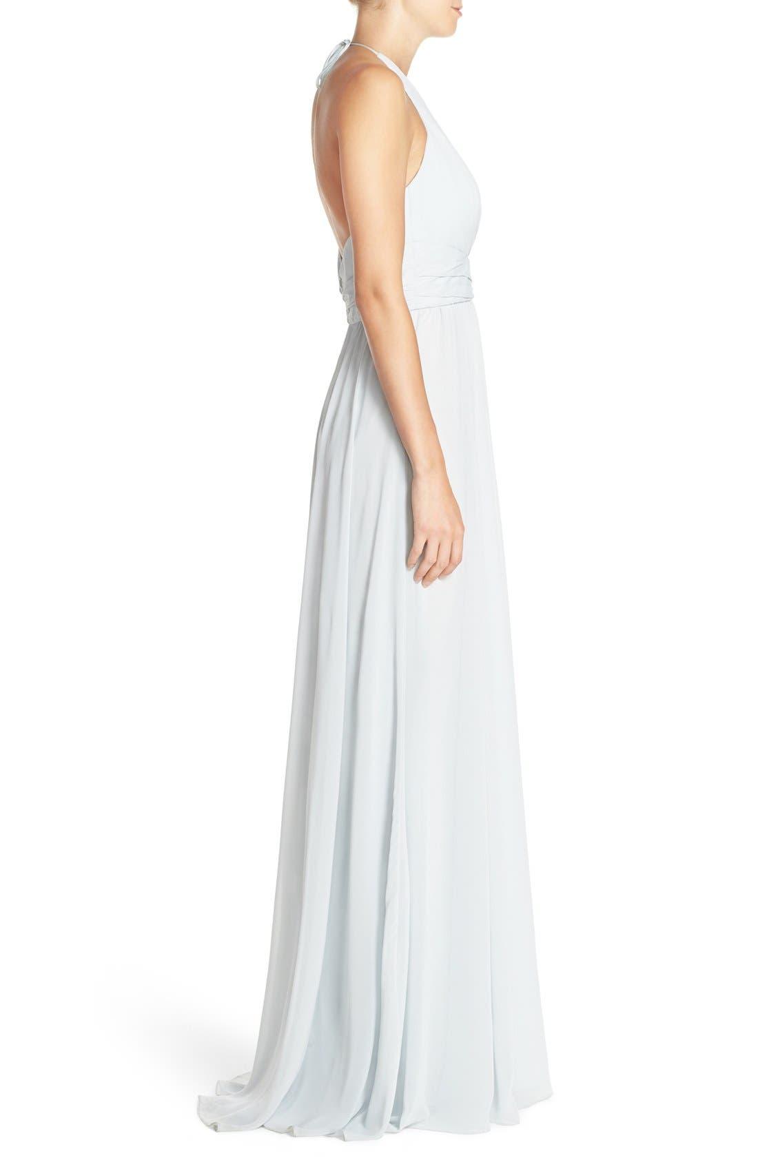 'Jennifer' V-Neck Chiffon Halter Gown,                             Alternate thumbnail 3, color,                             Spa