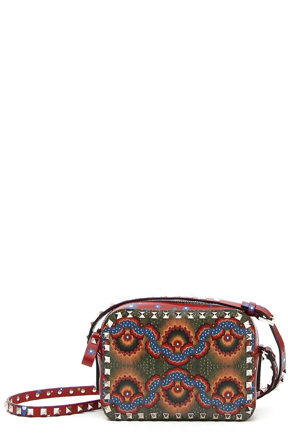 'Rockstud - Enchanted Wonderland' Calfskin Leather Camera Crossbody Bag,                             Main thumbnail 1, color,                             Rosso