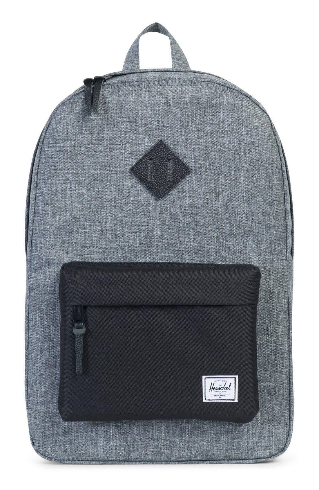 Heritage Backpack,                         Main,                         color, Raven Crosshatch/ Black