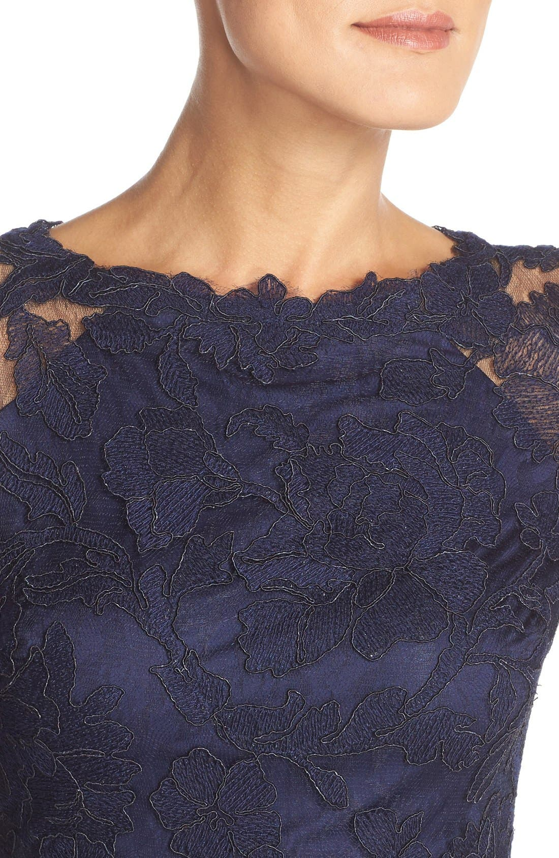 Alternate Image 4  - Tadashi Shoji Embroidered Lace Gown (Regular & Petite)