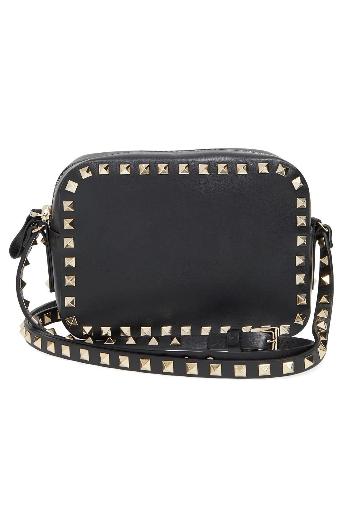 VALENTINO GARAVANI Rockstud Calfskin Leather Camera Crossbody Bag