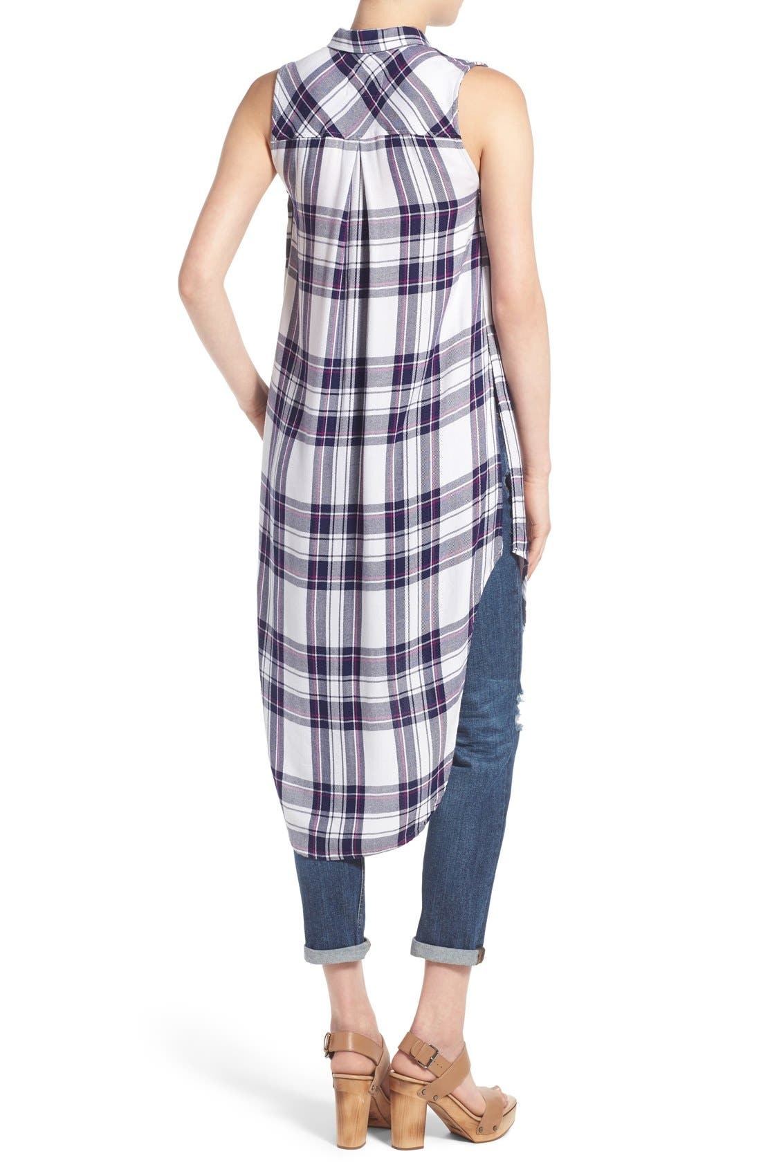 'Jordyn' Sleeveless Plaid Tunic,                             Alternate thumbnail 2, color,                             White/ Navy/ Orchid