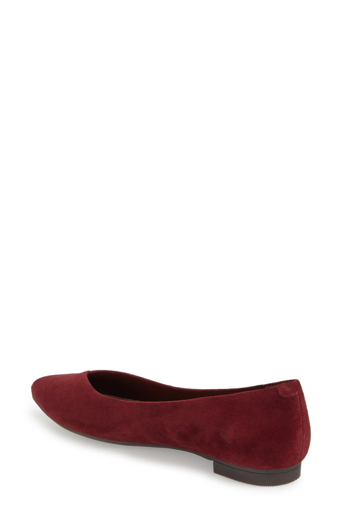 'Caballo' Pointy Toe Flat,                             Alternate thumbnail 3, color,                             Merlot Suede