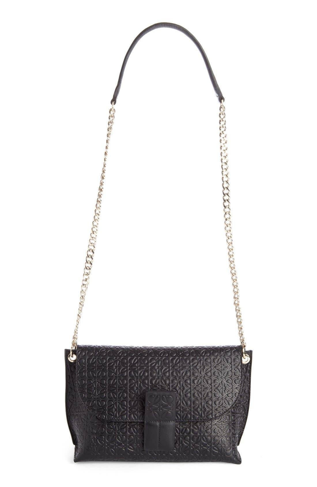 'Avenue' Embossed Calfskin Leather Crossbody Bag,                         Main,                         color, Black