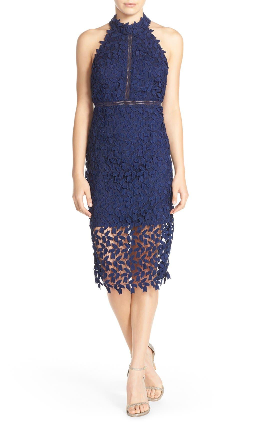 Gemma Halter Lace Sheath Dress,                             Main thumbnail 1, color,                             Blue Ink