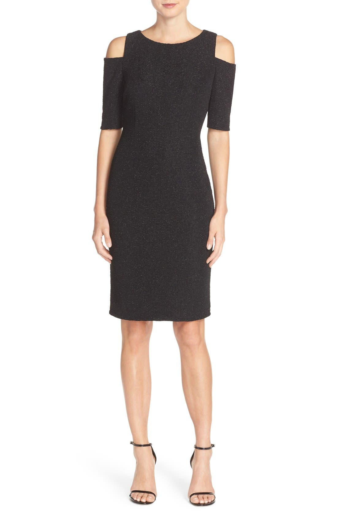 Main Image - Eliza J Cold Shoulder Sparkle Knit Sheath Dress