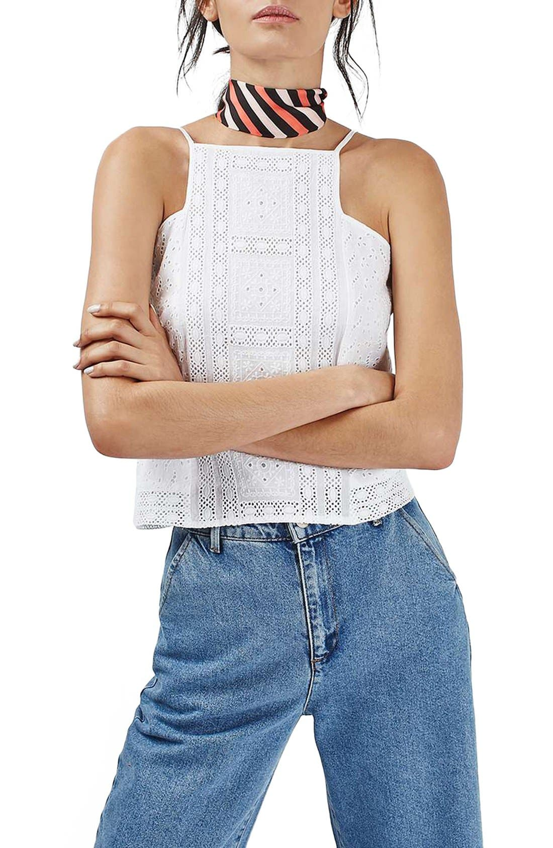 Alternate Image 1 Selected - Topshop Brodierie Square Neck Tank