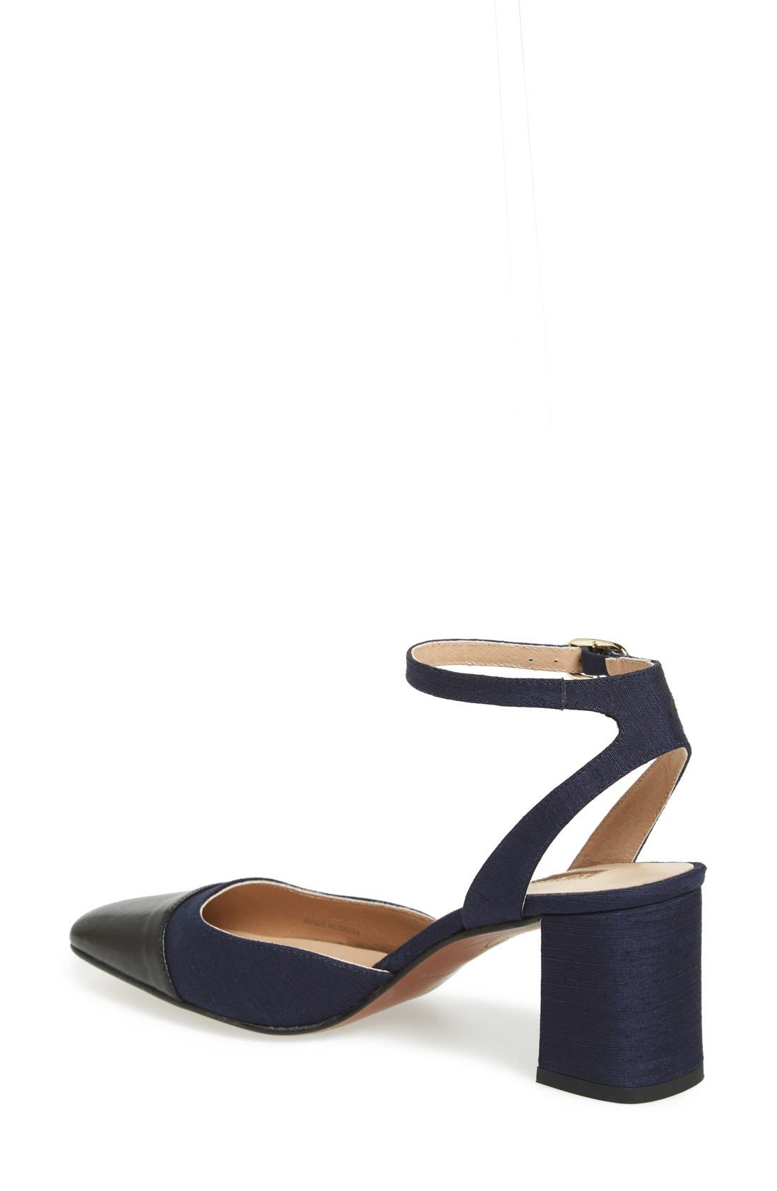 'Jewel' Cap Toe Block Heel Pump,                             Alternate thumbnail 2, color,                             Navy Blue Multi