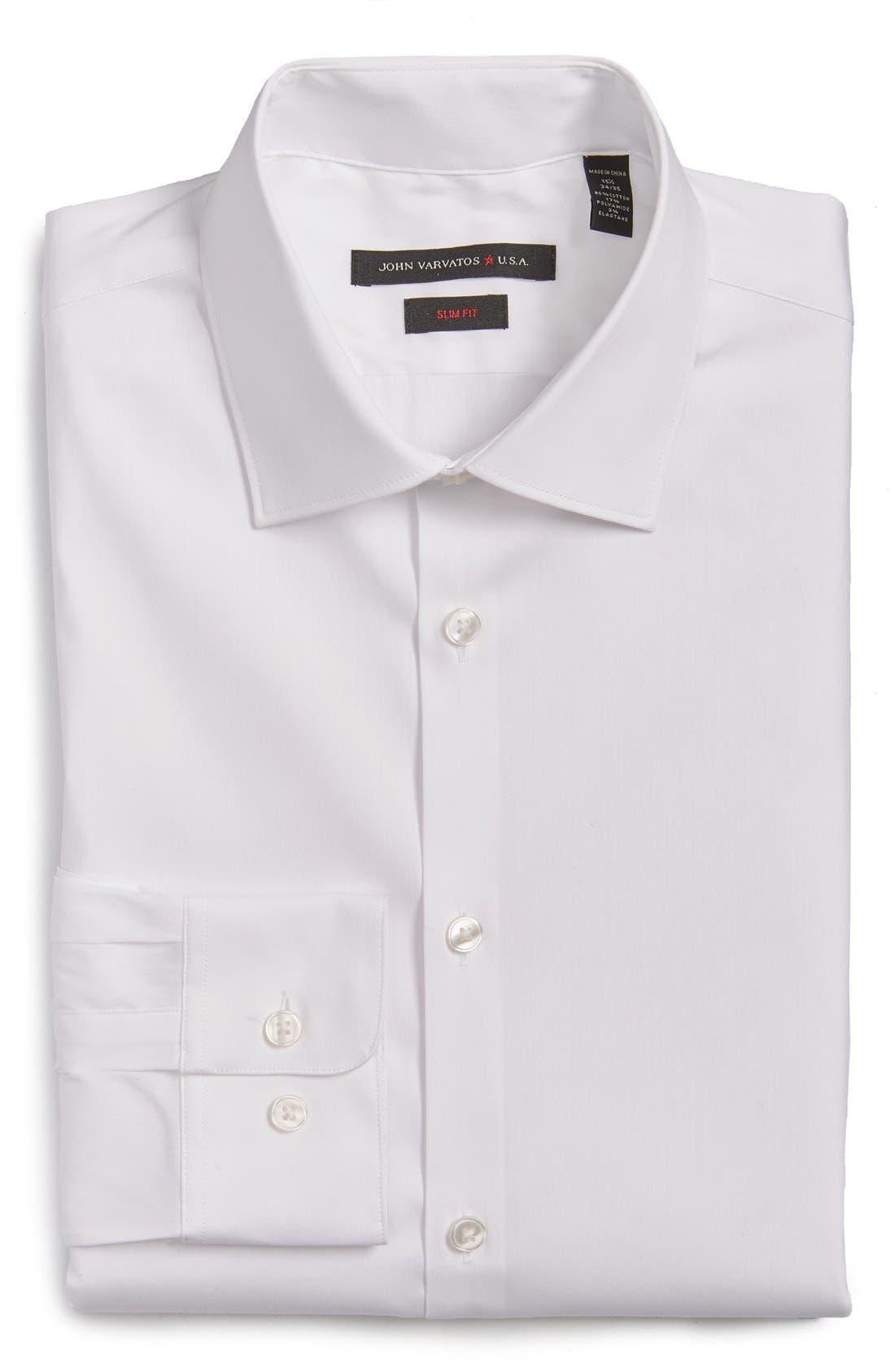 Slim Fit Solid Stretch Cotton Dress Shirt,                         Main,                         color, White