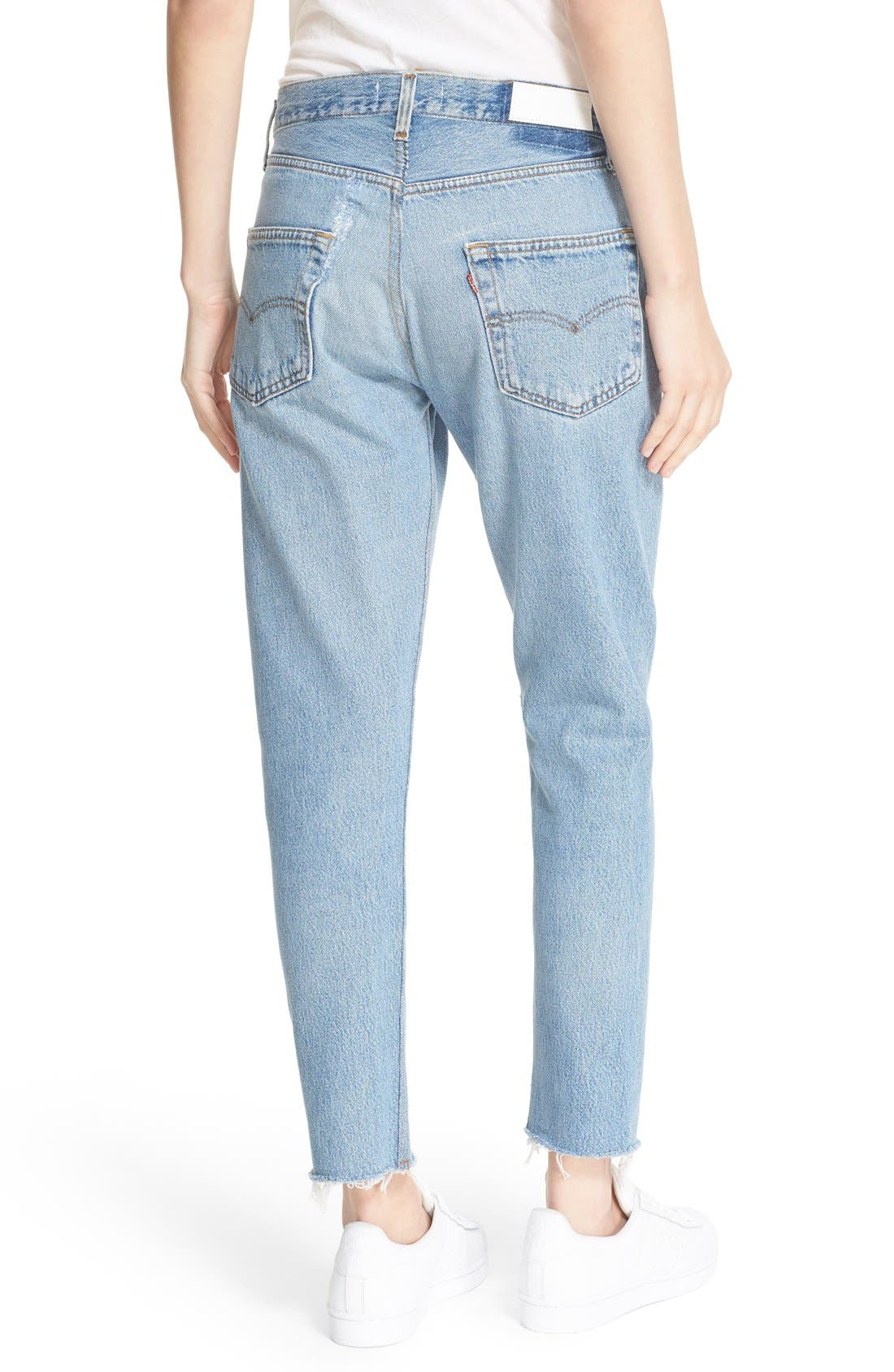 'The Relaxed Crop' Reconstructed Jeans,                             Alternate thumbnail 2, color,                             No Destruction