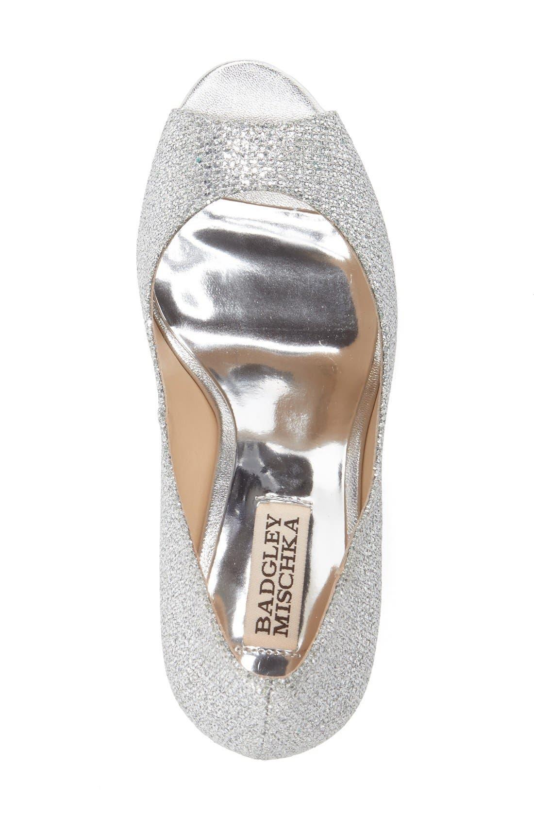 'Awake' Embellished Peep Toe Wedge Pump,                             Alternate thumbnail 3, color,                             Silver Glitter Fabric