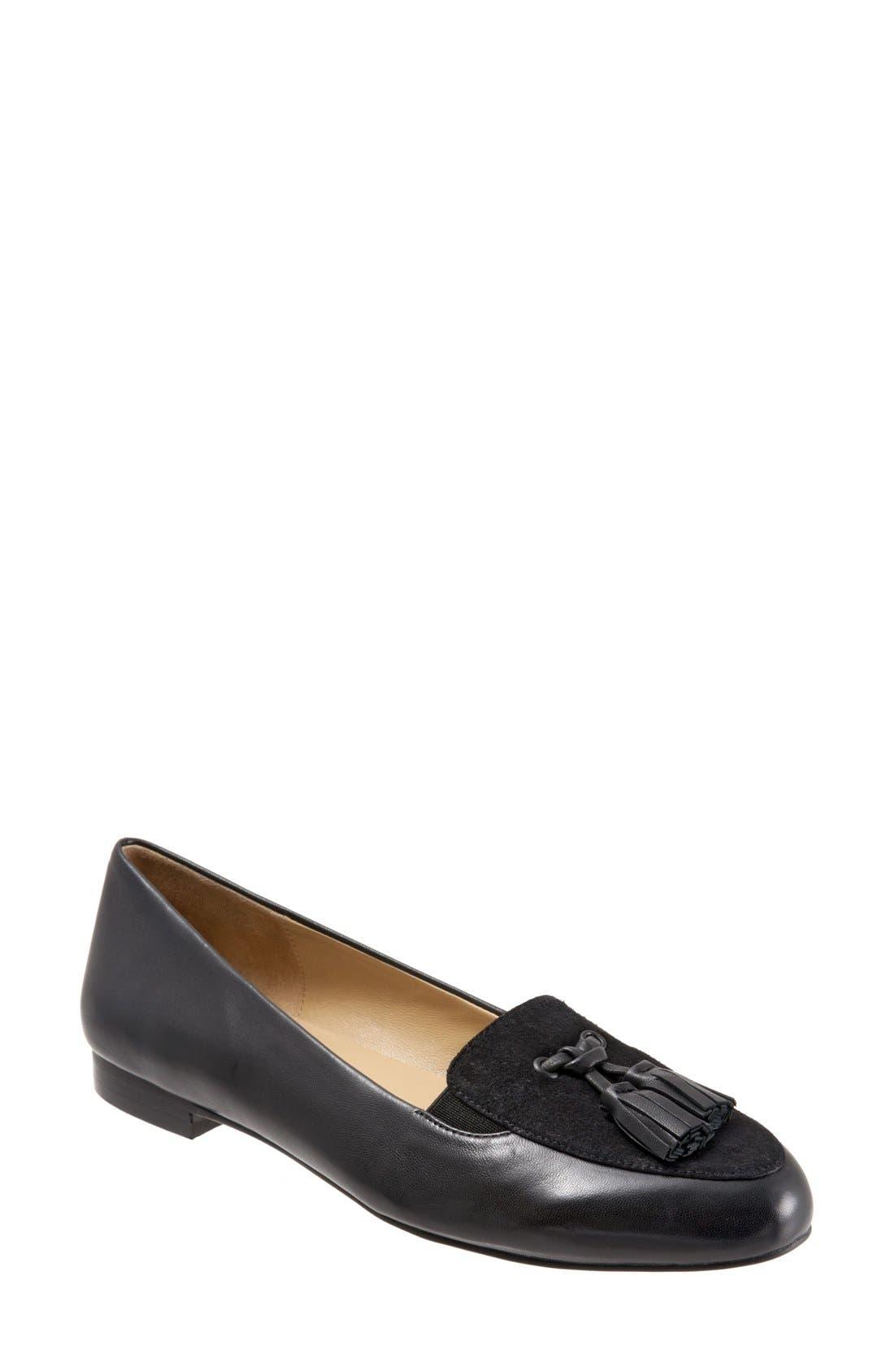 'Caroline' Tassel Loafer,                         Main,                         color, Black Suede