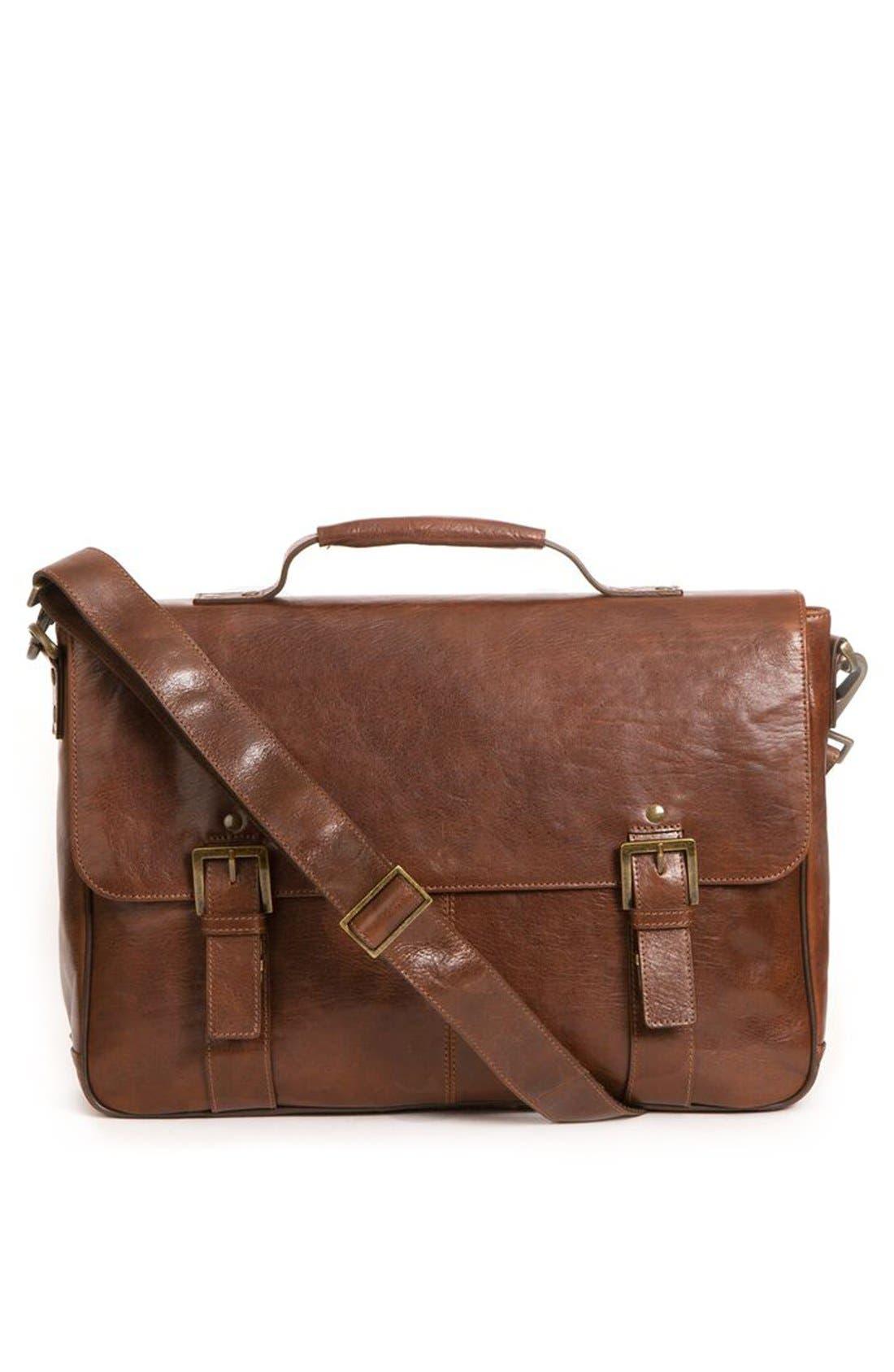 'Becker' Leather Messenger Bag,                             Main thumbnail 1, color,                             Whiskey W/ Khaki