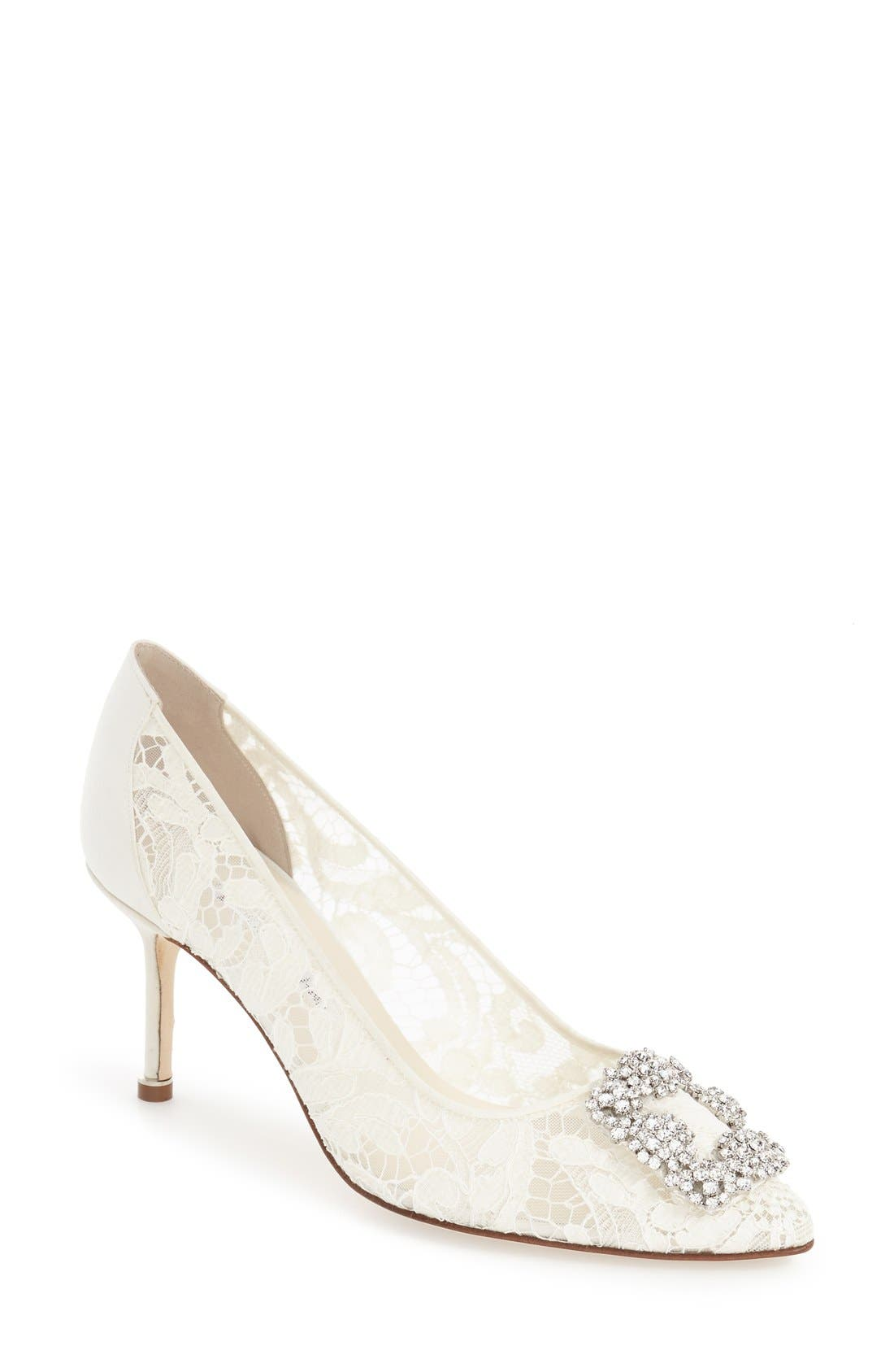 Manolo Blahnik 'Hangisi' Pointy Toe Lace Pump (Women)