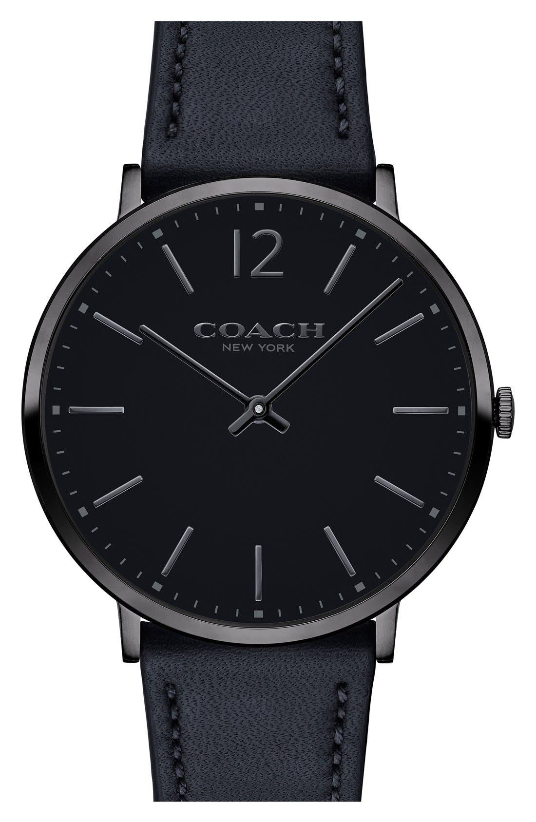 Easton Leather Strap Watch, 40mm,                         Main,                         color, Black/ Grey