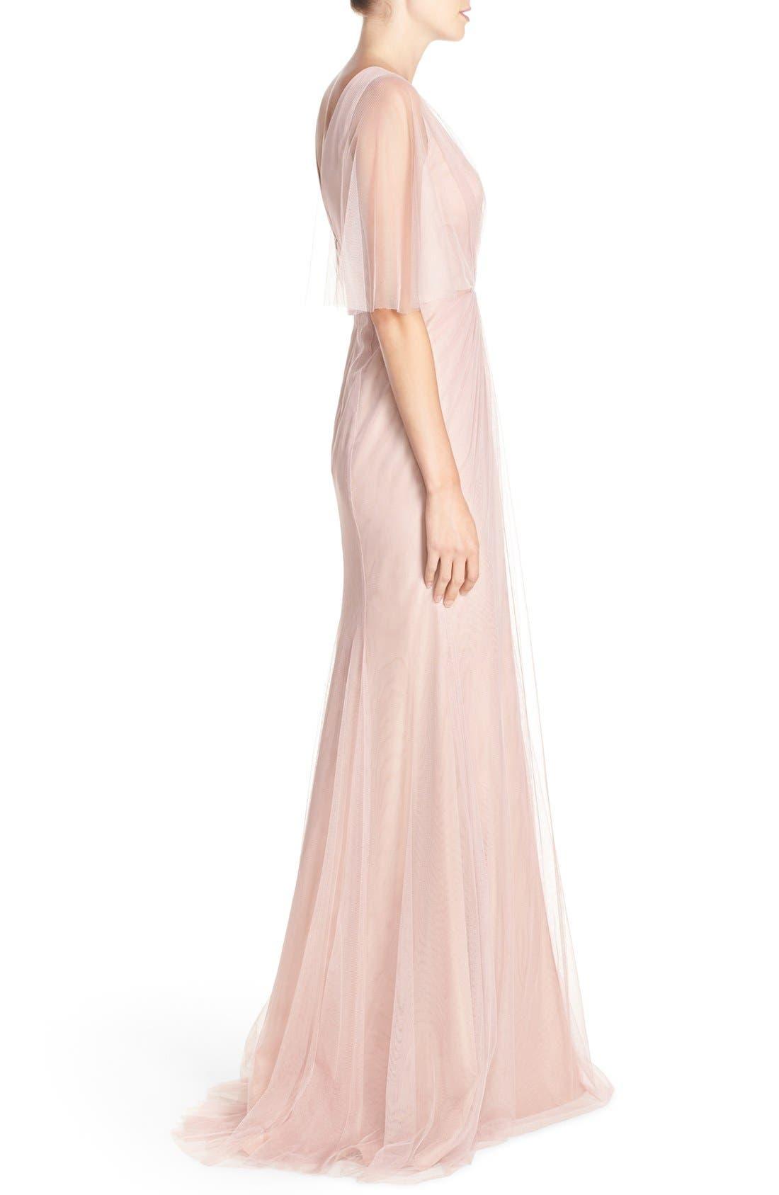 Alternate Image 3  - Monique Lhuillier Bridesmaids Sheer Capelet V-Neck Tulle A-Line Gown