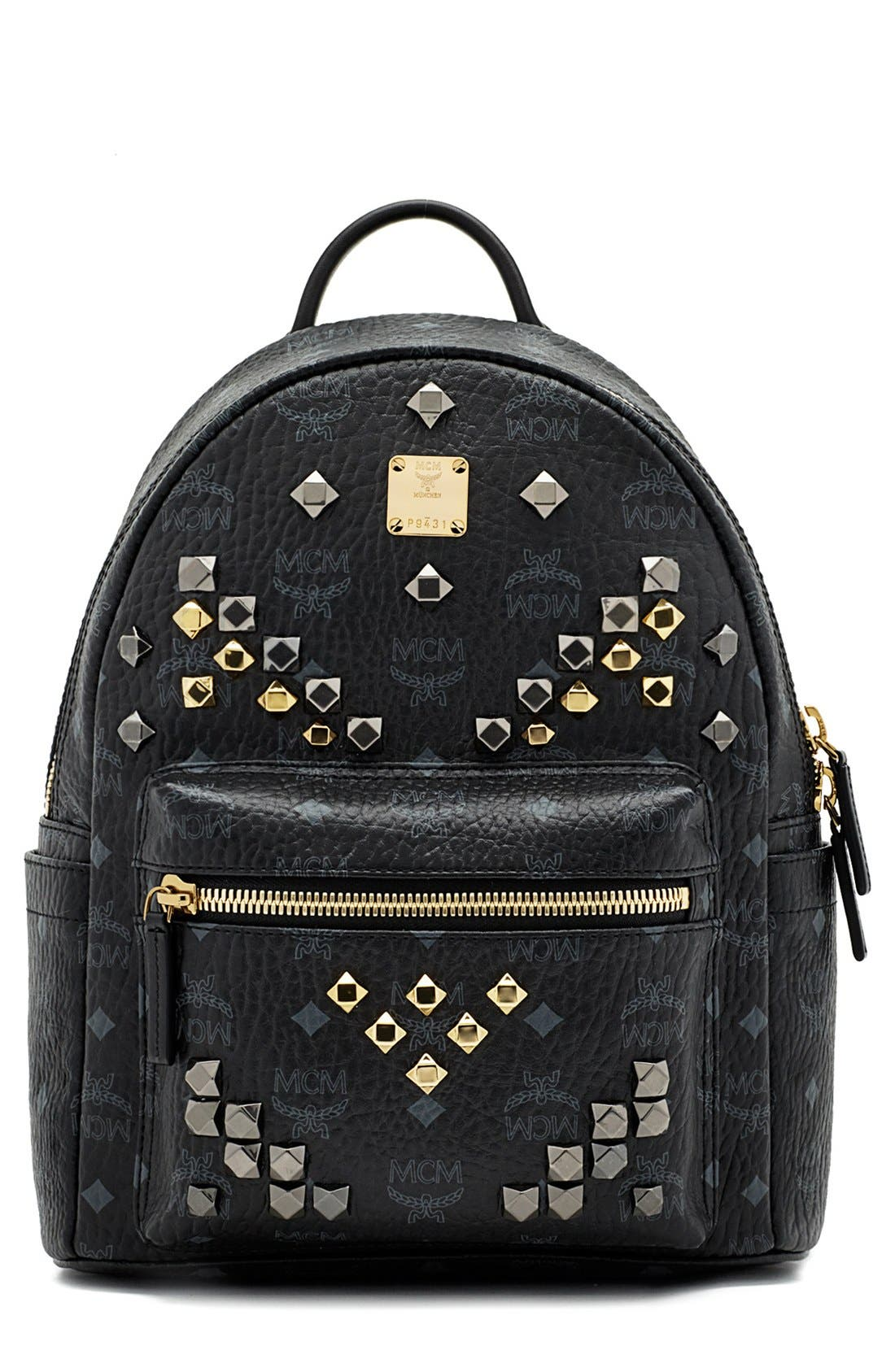 Main Image - MCM 'Small Stark - Visetos' Studded Backpack