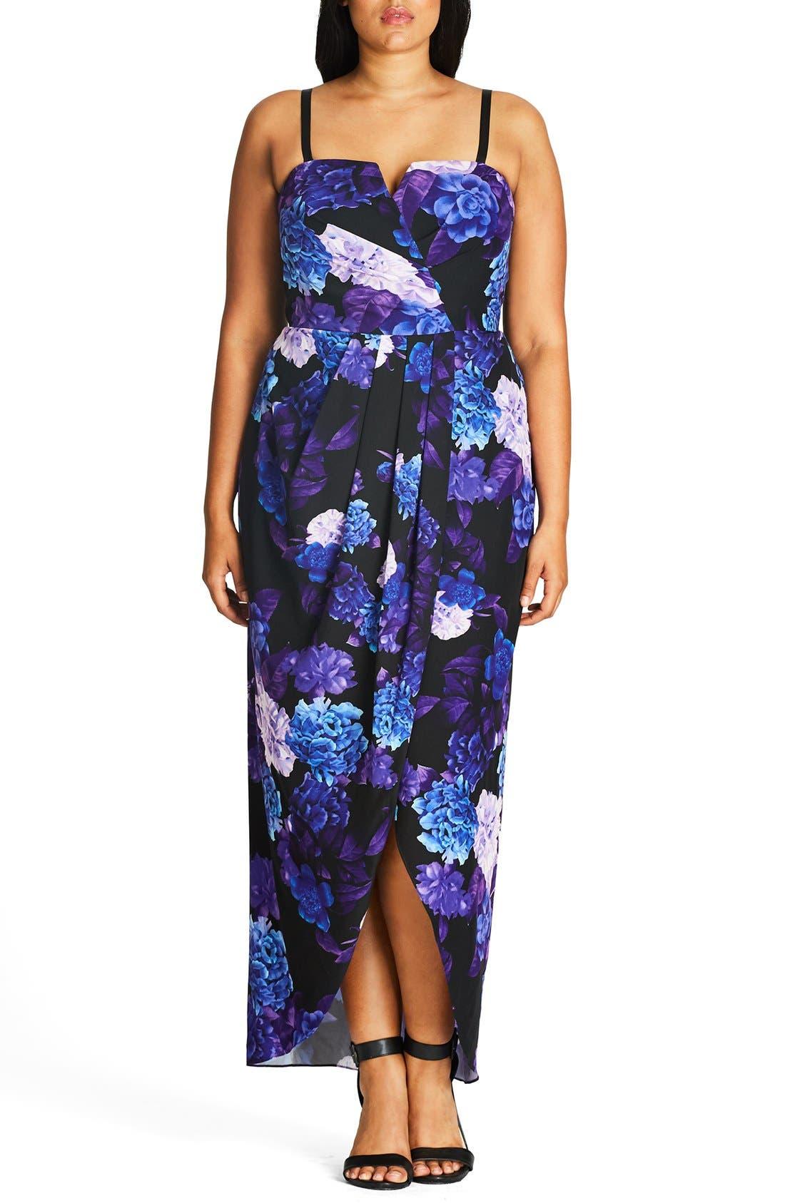 Hydrangea Print Maxi Dress,                         Main,                         color, Black