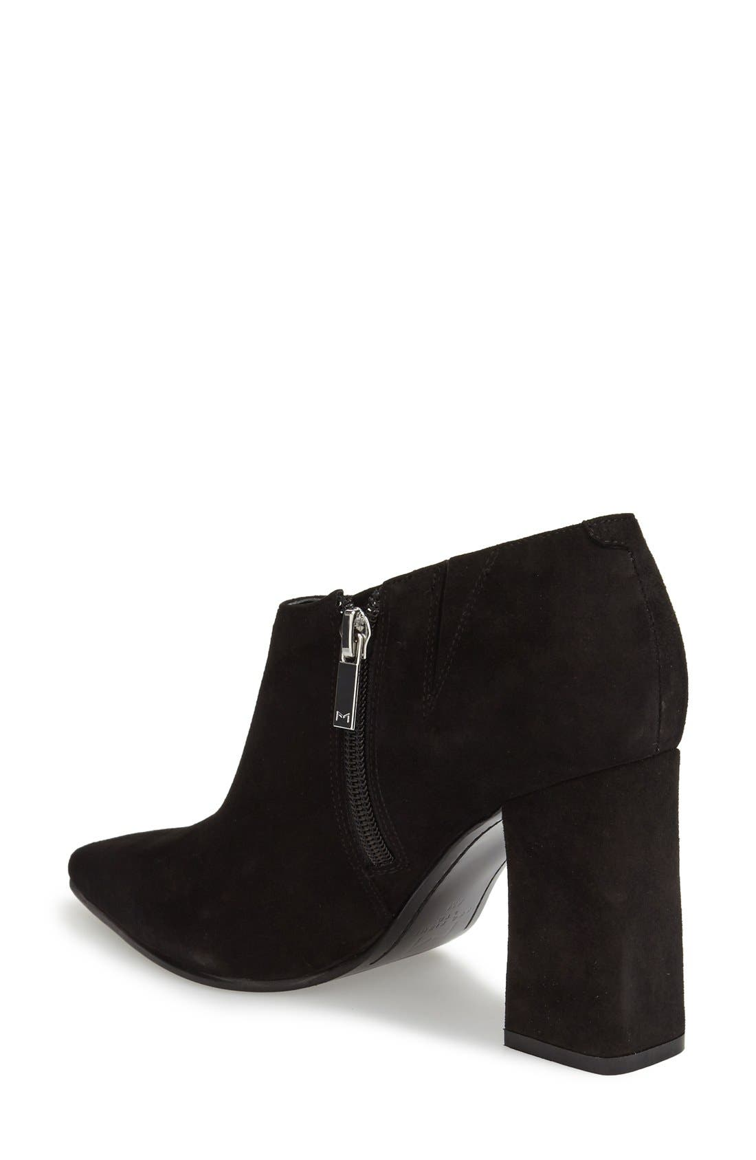 'Jayla' Block Heel Bootie,                             Alternate thumbnail 2, color,                             Black Suede