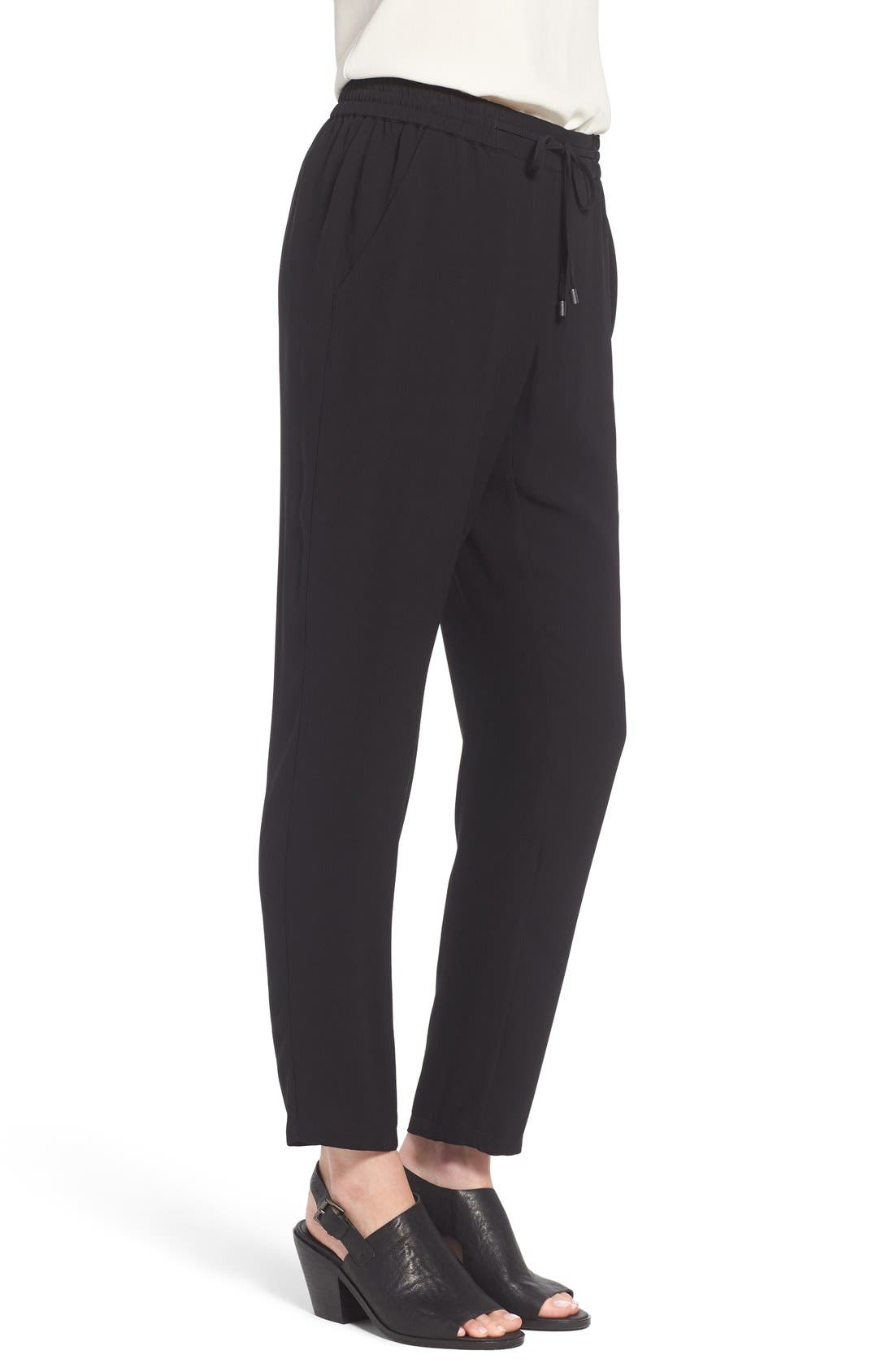 Silk Crepe Ankle Pants,                             Alternate thumbnail 3, color,                             Black