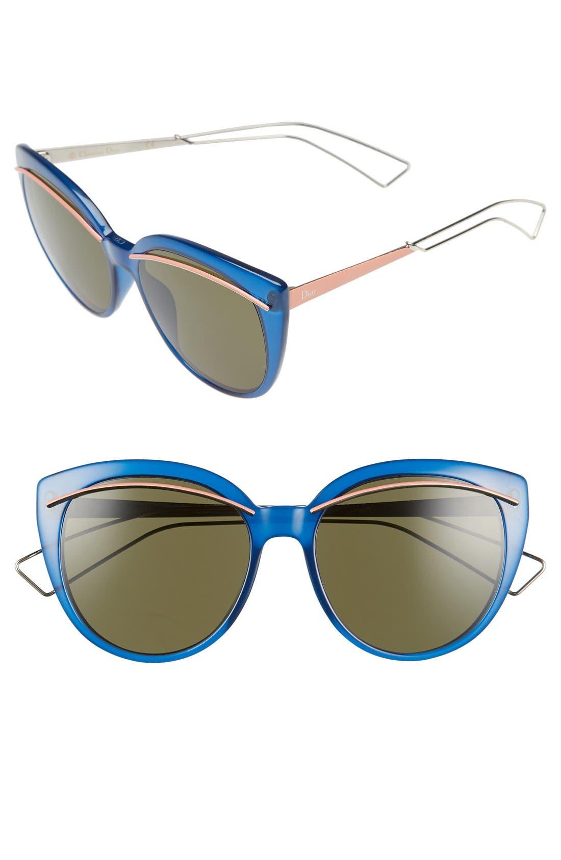 Dior 'Liner' 56mm Cat Eye Sunglasses